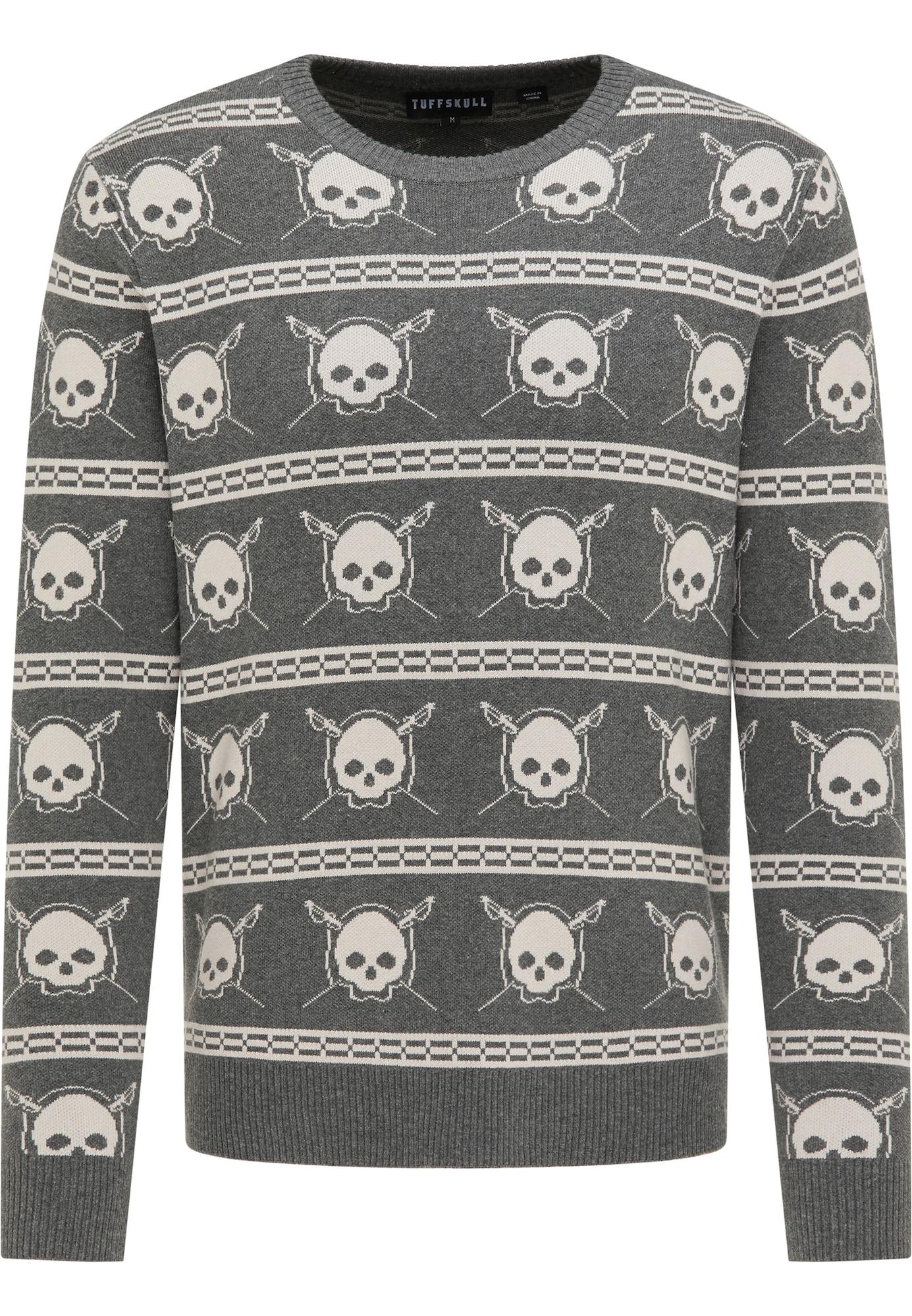 TUFFSKULL Megztinis bazalto pilka / vilnos balta