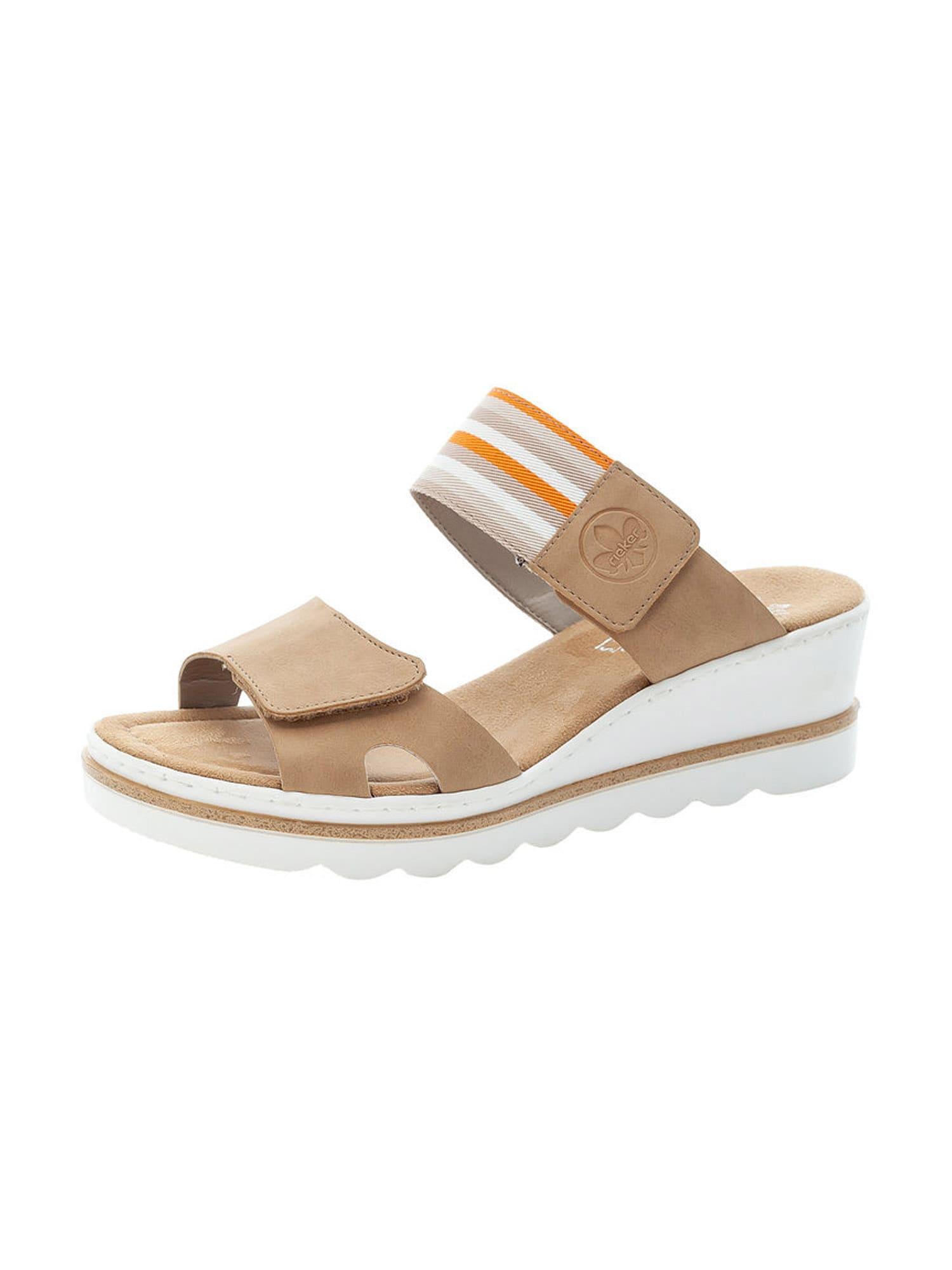RIEKER Pantofle  světle béžová / bílá / oranžová