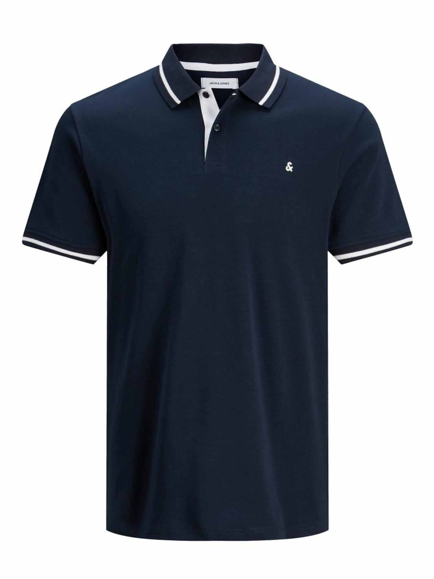 JACK & JONES Marškinėliai tamsiai mėlyna / balkšva