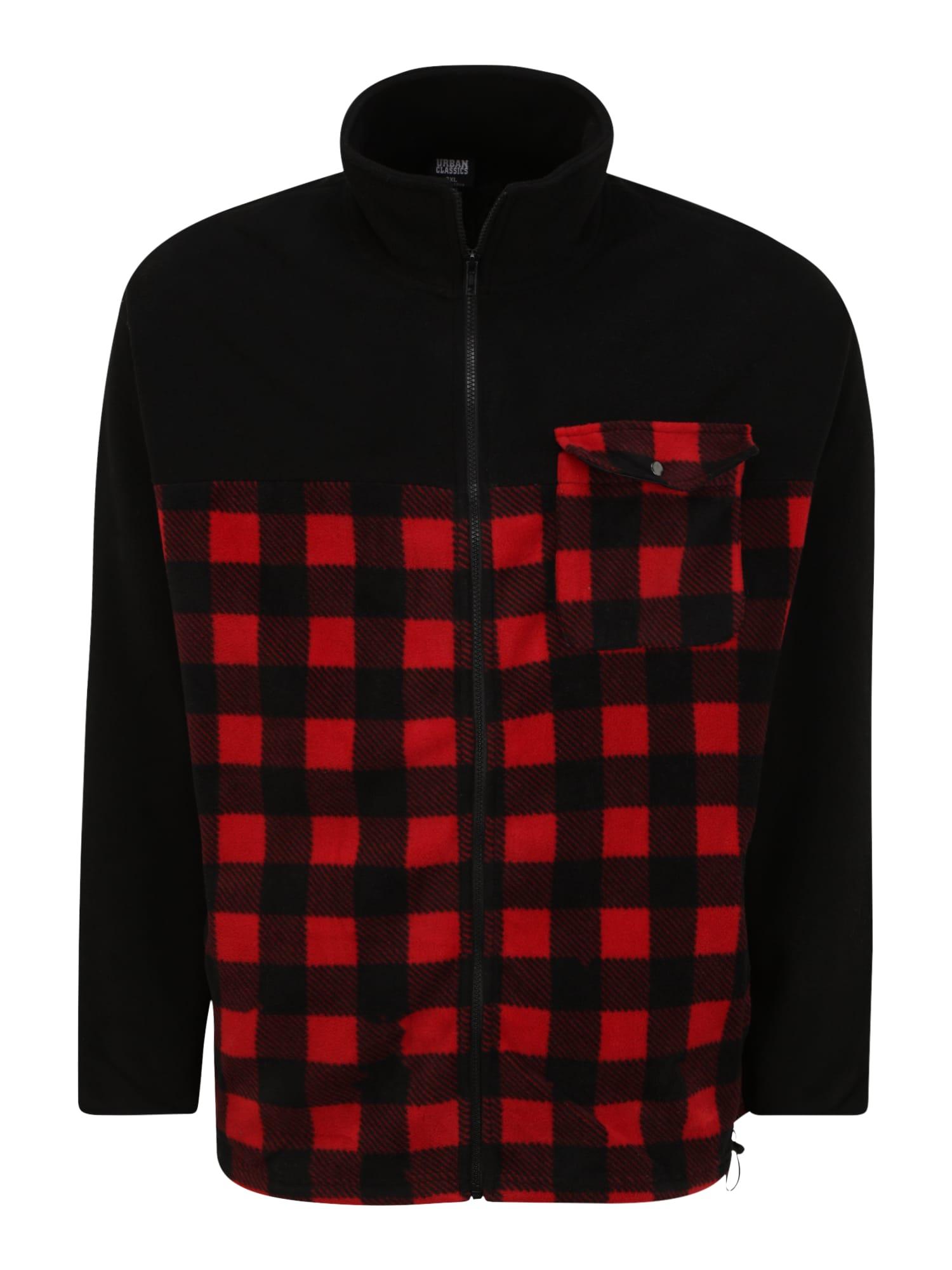 Urban Classics Big & Tall Flisinis džemperis juoda / raudona