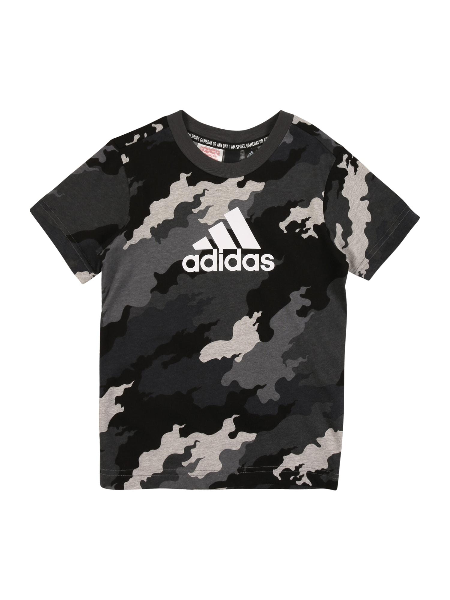 ADIDAS PERFORMANCE Funkční tričko  černá / bílá / světle šedá / tmavě šedá / šedý melír