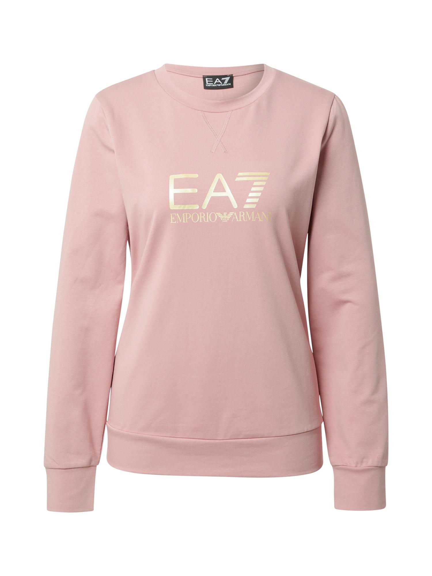 EA7 Emporio Armani Megztinis be užsegimo šviesiai rožinė / balta