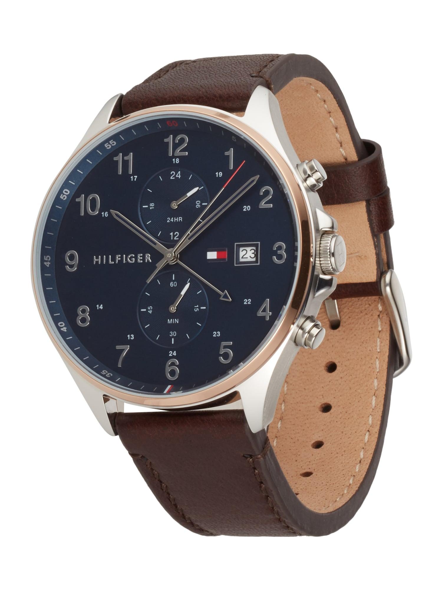 TOMMY HILFIGER Analoginis (įprasto dizaino) laikrodis mėlyna / ruda / sidabrinė