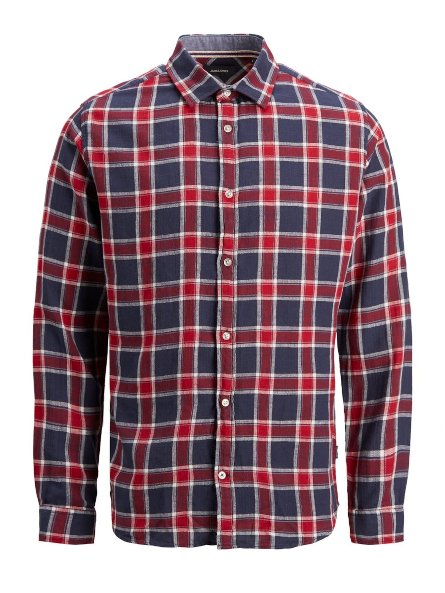 JACK & JONES Košile  tmavě modrá / tmavě červená / bílá