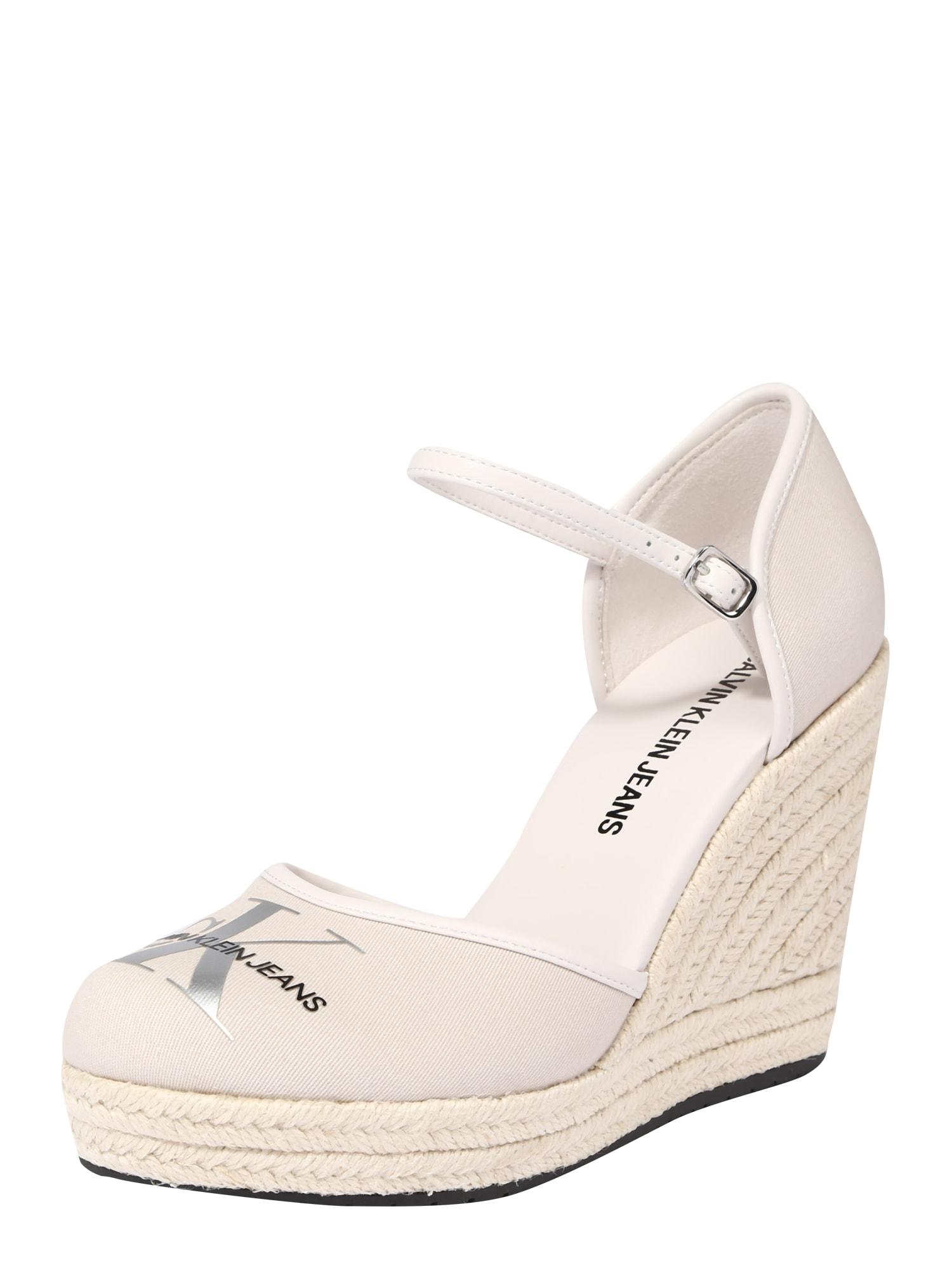 Calvin Klein Sandalai balta / smėlio / sidabrinė / juoda