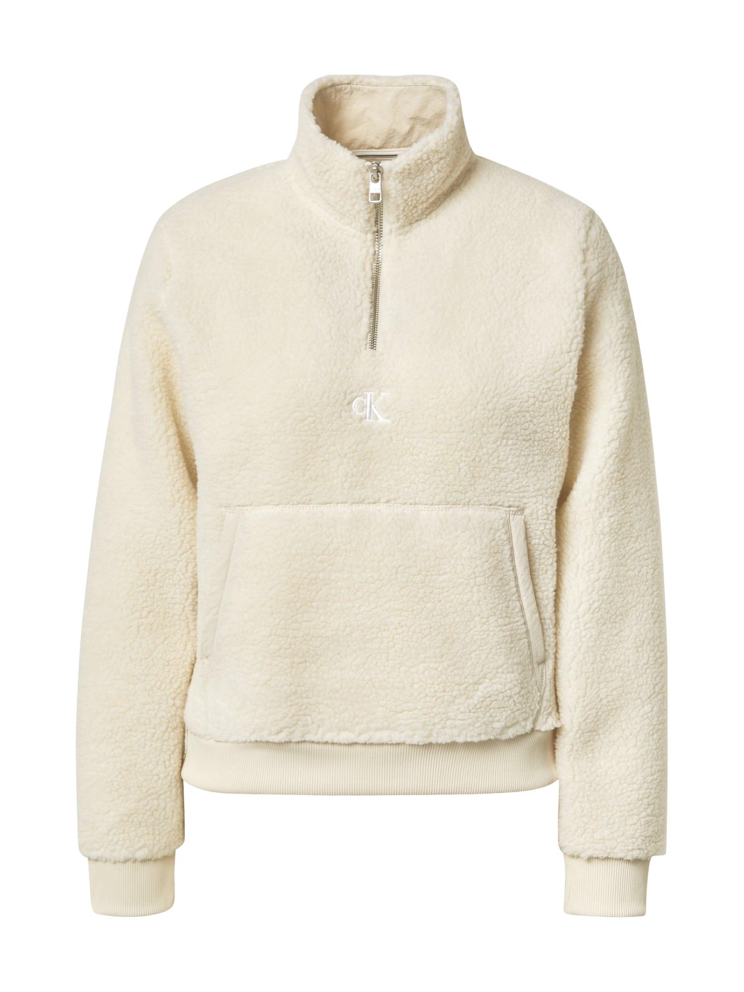 Calvin Klein Jeans Mikina 'SHERPA'  krémová