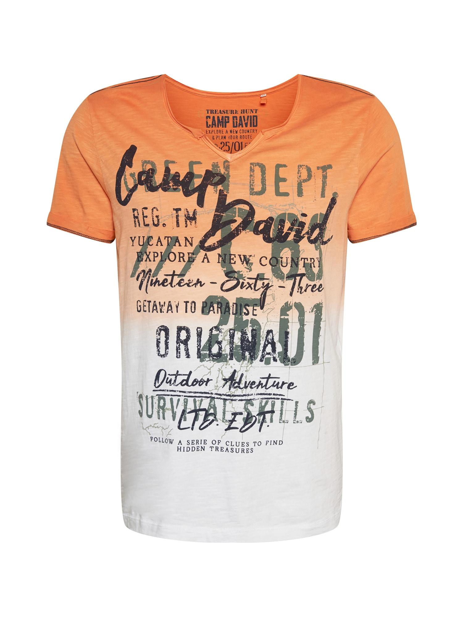 CAMP DAVID Marškinėliai balta / oranžinė / rusvai žalia / juoda