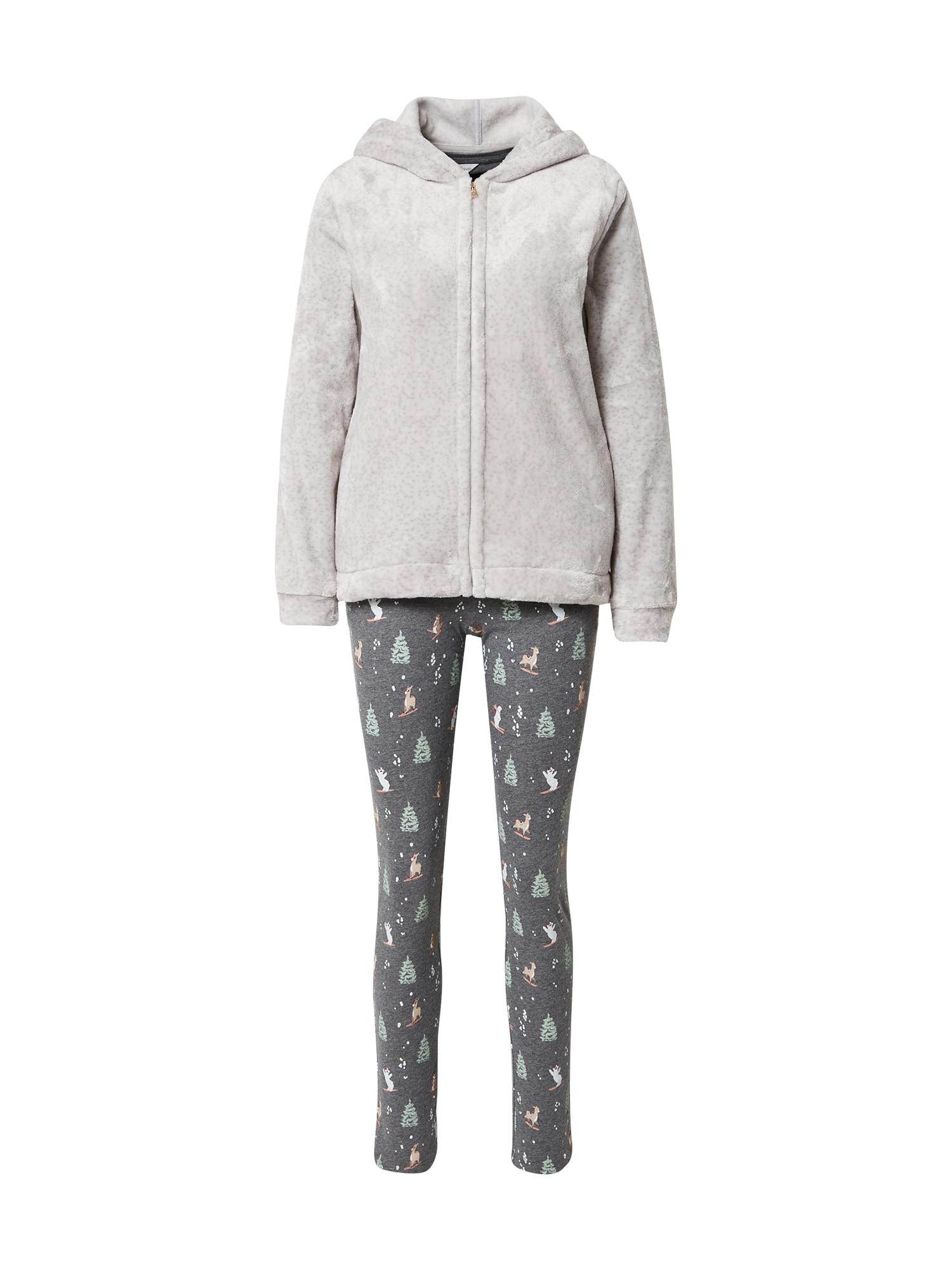 ETAM Pyžamo 'ODEON'  zelená / šedá / šedý melír / bílá / starorůžová