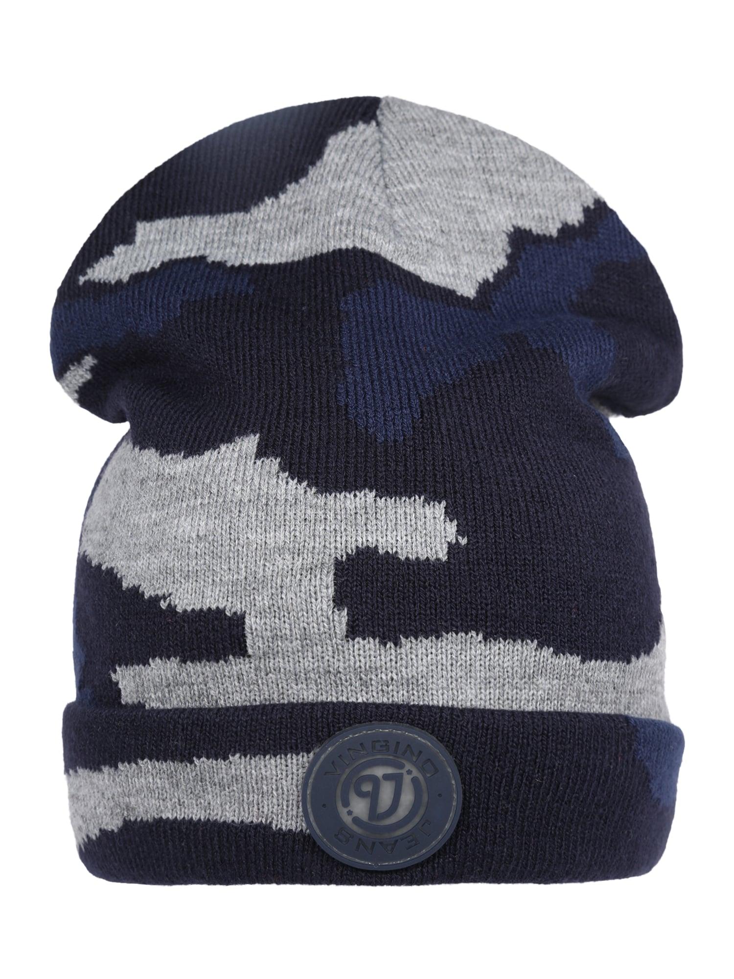 VINGINO Megzta kepurė 'Vani' margai pilka / tamsiai mėlyna / tamsiai mėlyna