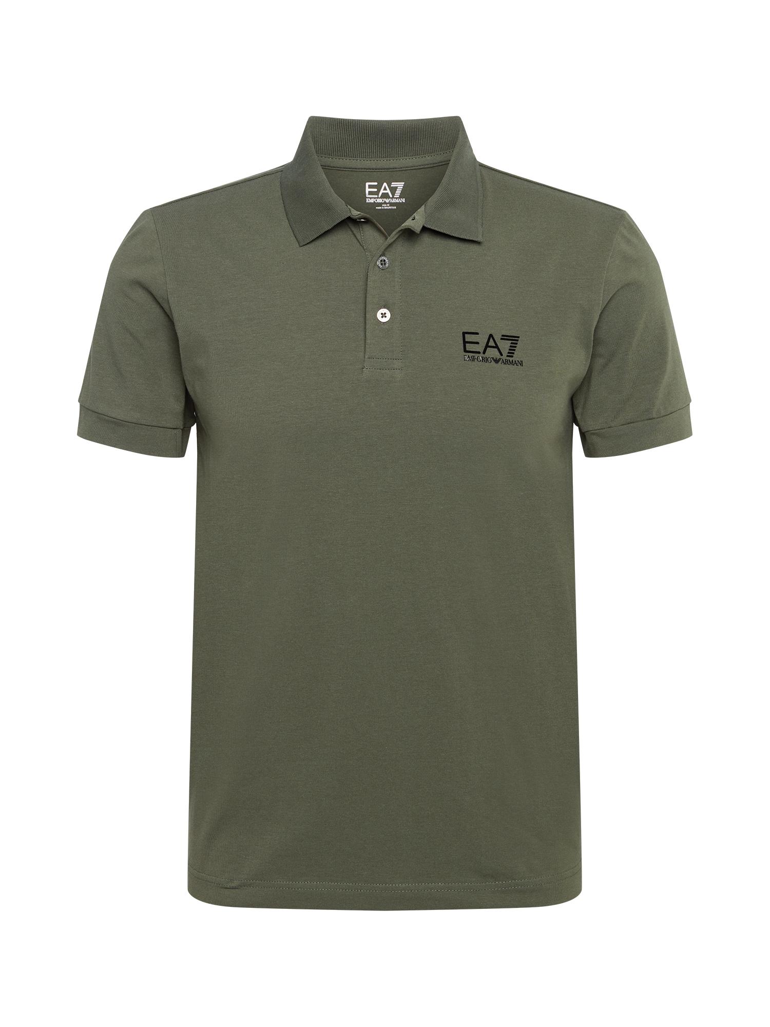 EA7 Emporio Armani Marškinėliai rusvai žalia / juoda