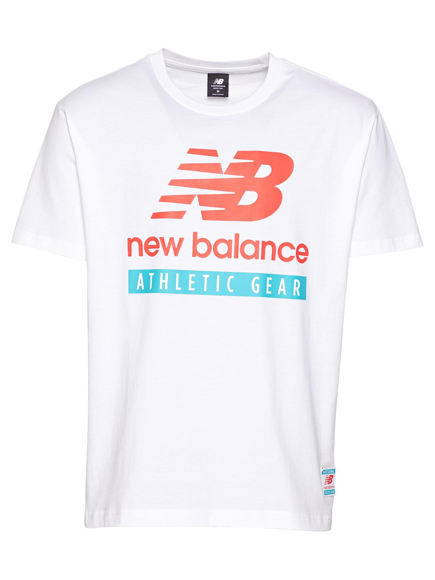 new balance Marškinėliai balta / turkio spalva / melionų spalva