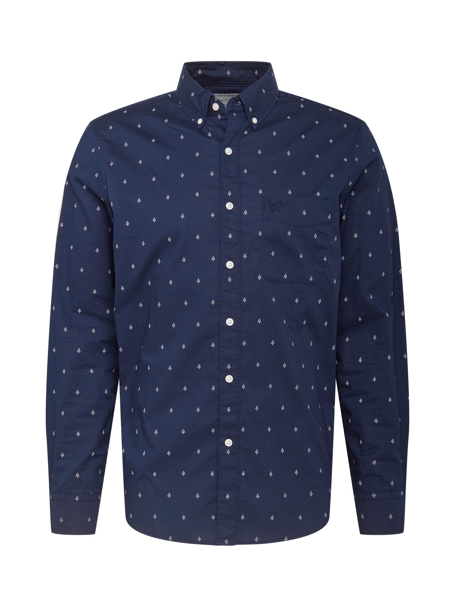 American Eagle Marškiniai tamsiai mėlyna / balta