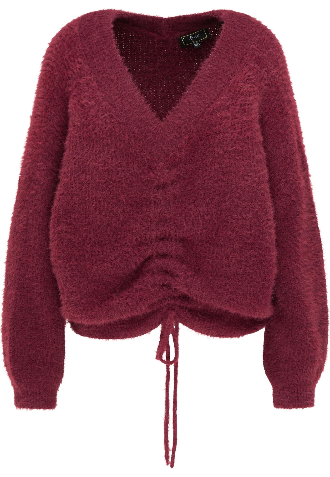faina Laisvas megztinis vyšninė spalva