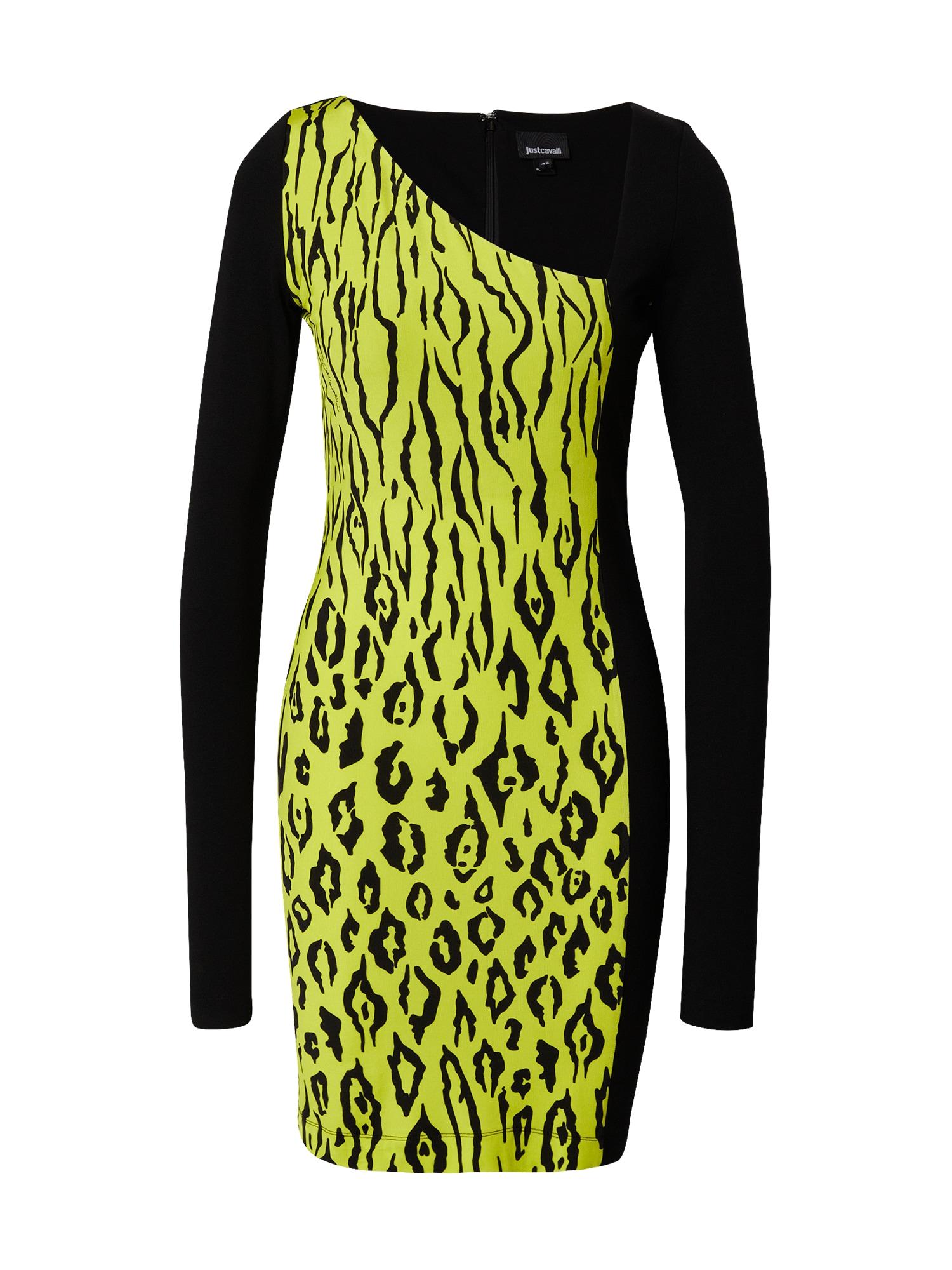 Just Cavalli Šaty  černá / žlutá