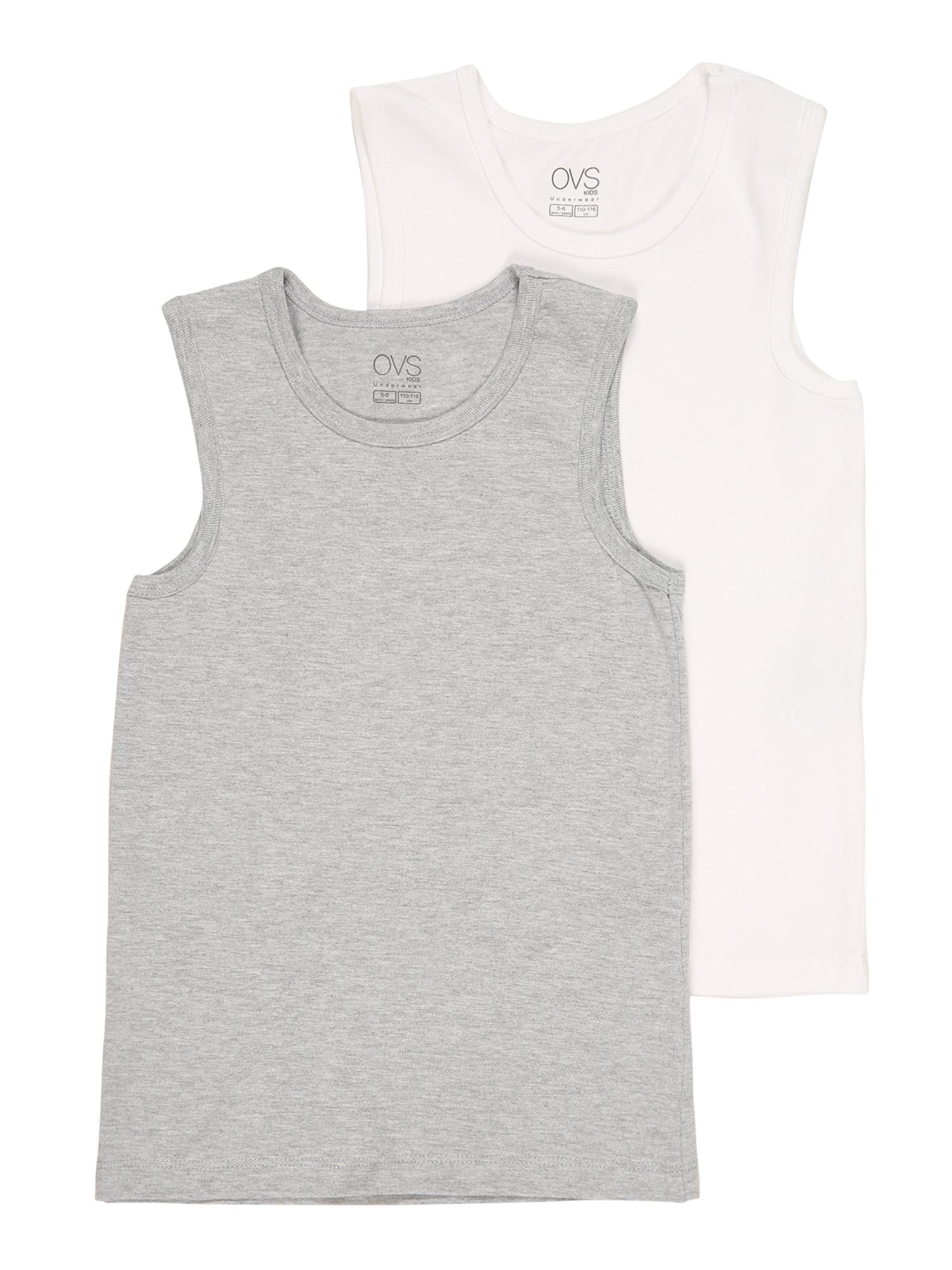 OVS Apatiniai marškinėliai balta / margai pilka