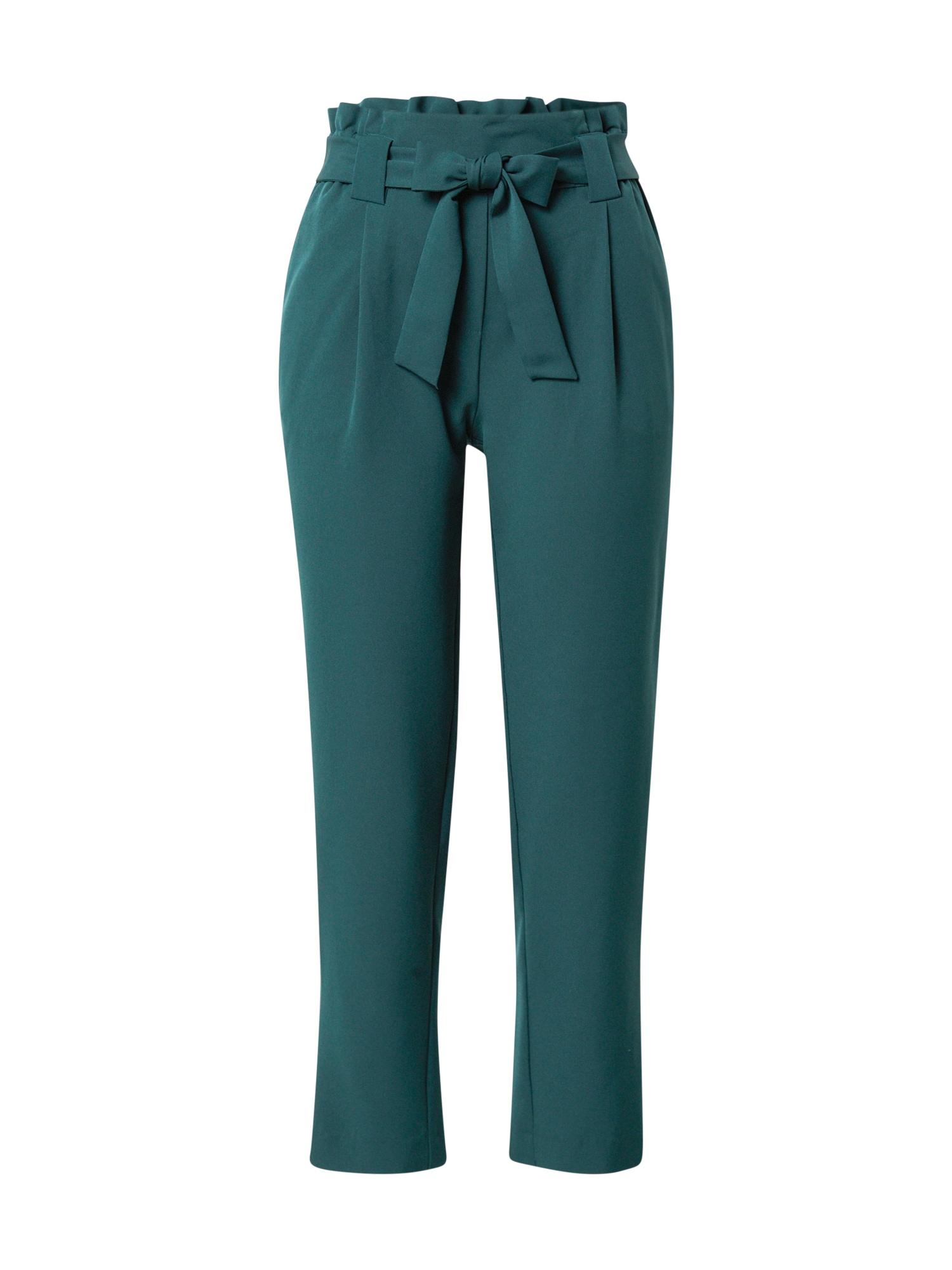 JACQUELINE de YONG Kalhoty se sklady v pase  tmavě zelená