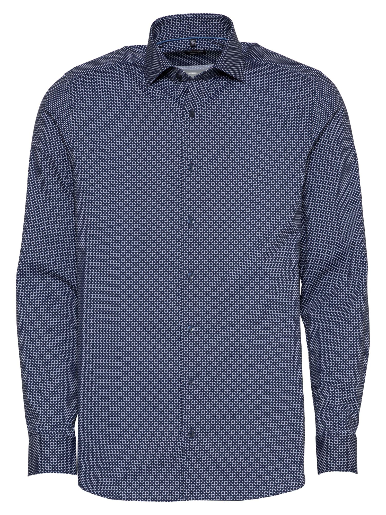 OLYMP Marškiniai tamsiai mėlyna jūros spalva / balta / šviesiai mėlyna