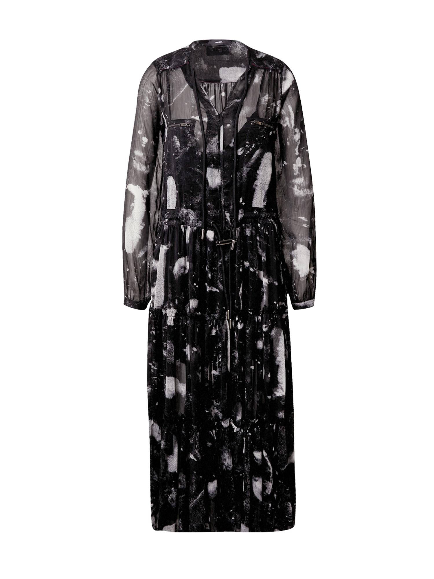 DIESEL Šaty 'D-HINES'  černá / bílá
