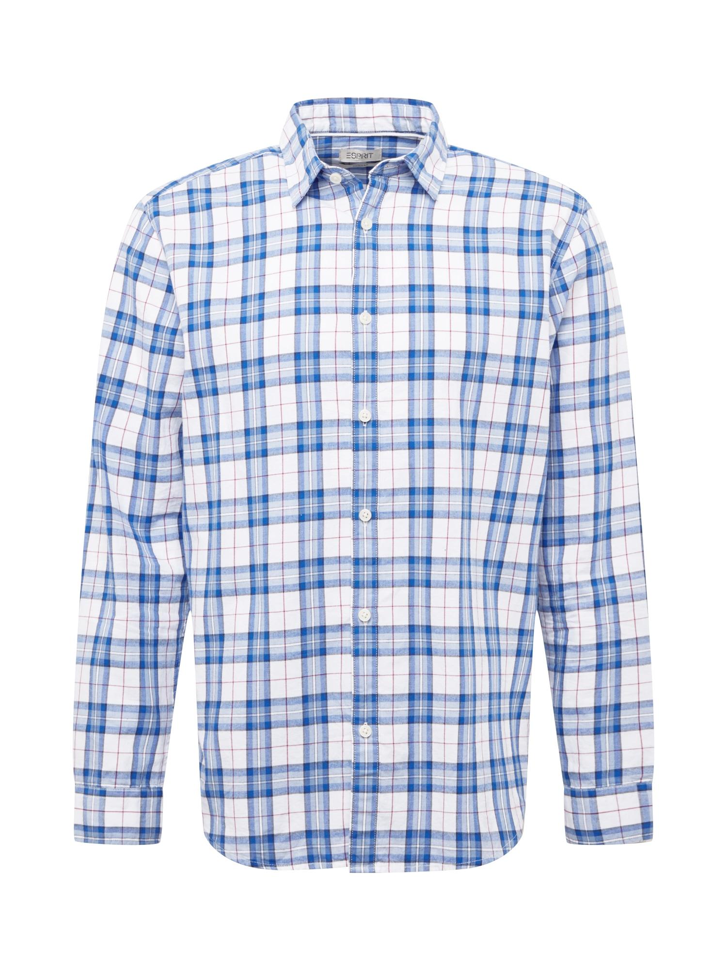 ESPRIT Marškiniai balta / mėlyna