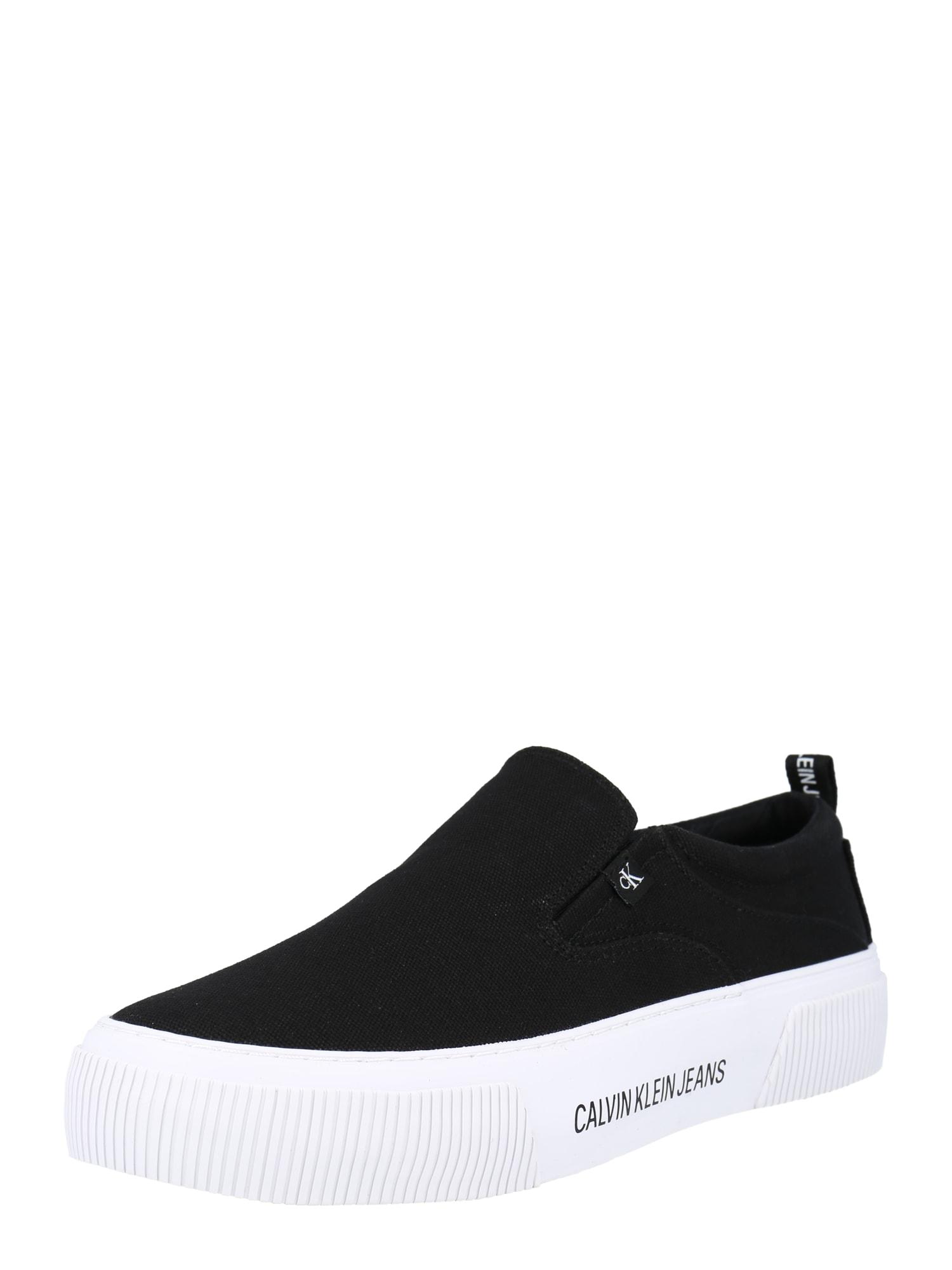 Calvin Klein Jeans Slip on boty  černá / bílá