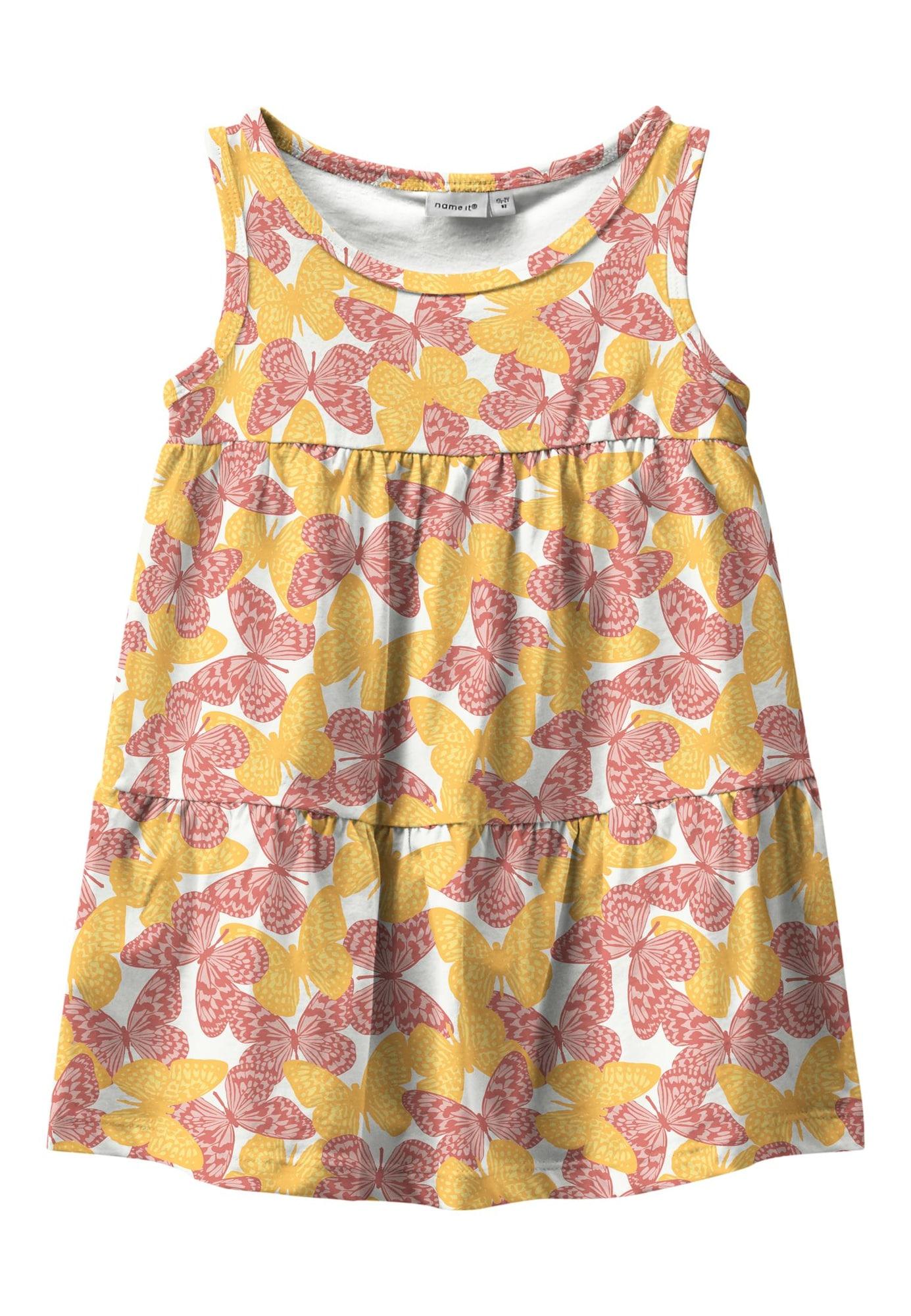 NAME IT Šaty 'Vigga'  bílá / pink / starorůžová / žlutá / šafrán