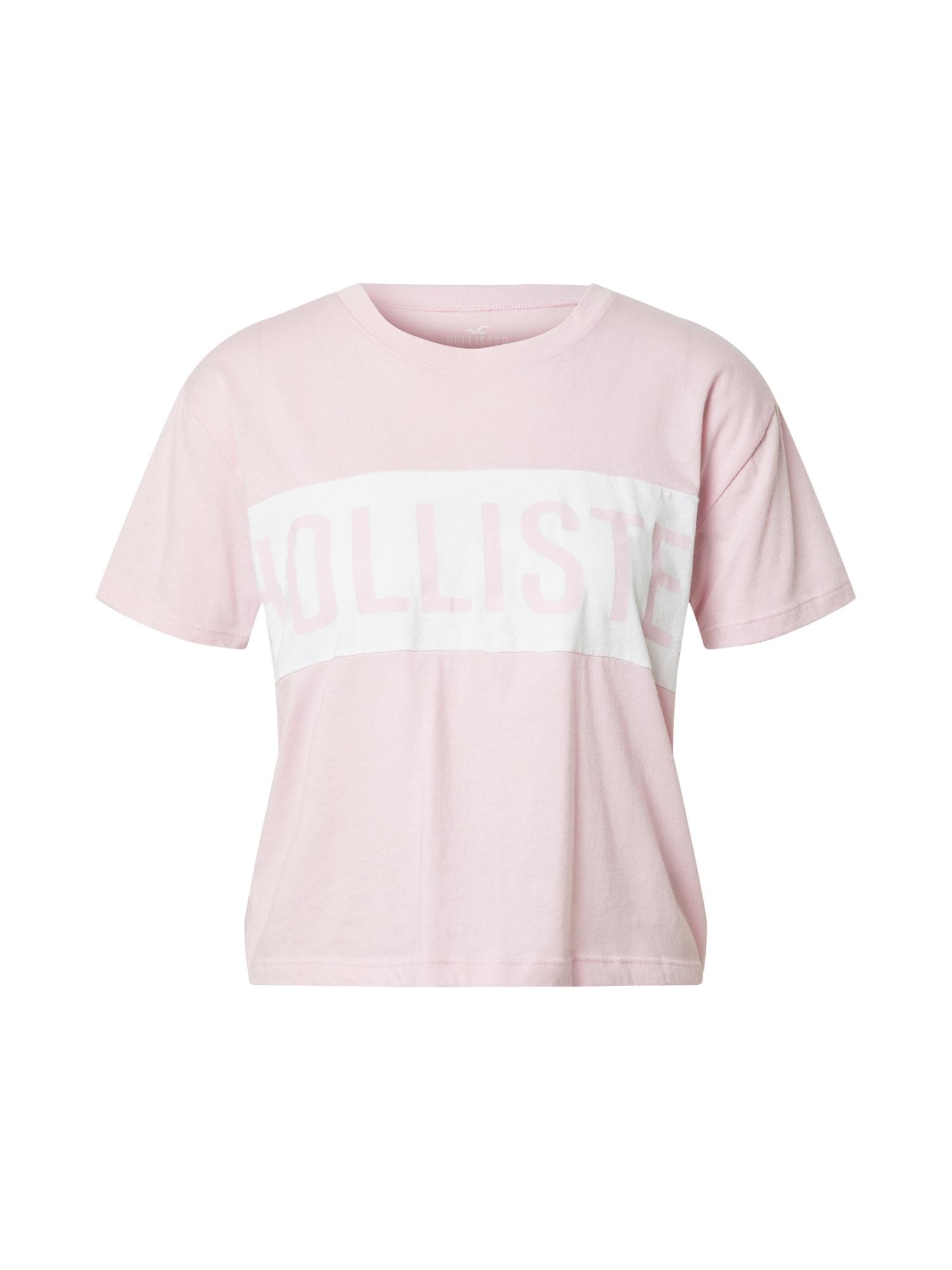 HOLLISTER Marškinėliai balta / rožių spalva