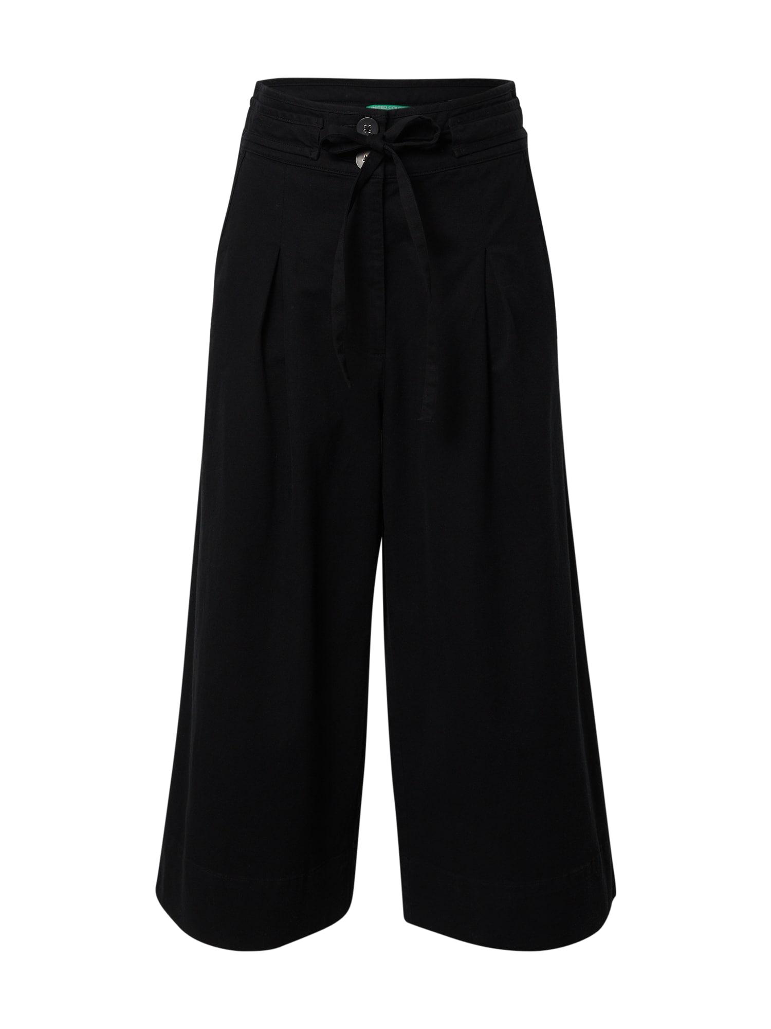 UNITED COLORS OF BENETTON Klostuotos kelnės juoda