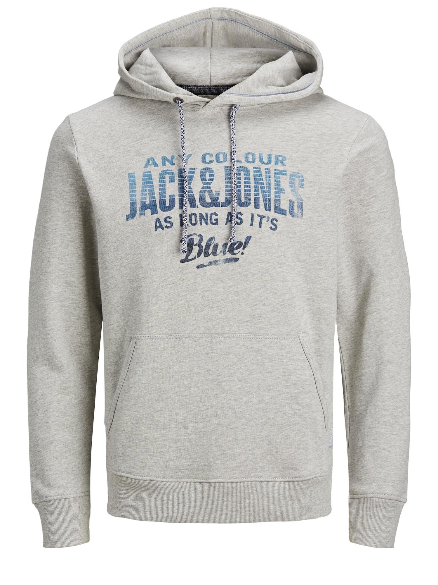 JACK & JONES Megztinis be užsegimo pilka / mėlyna