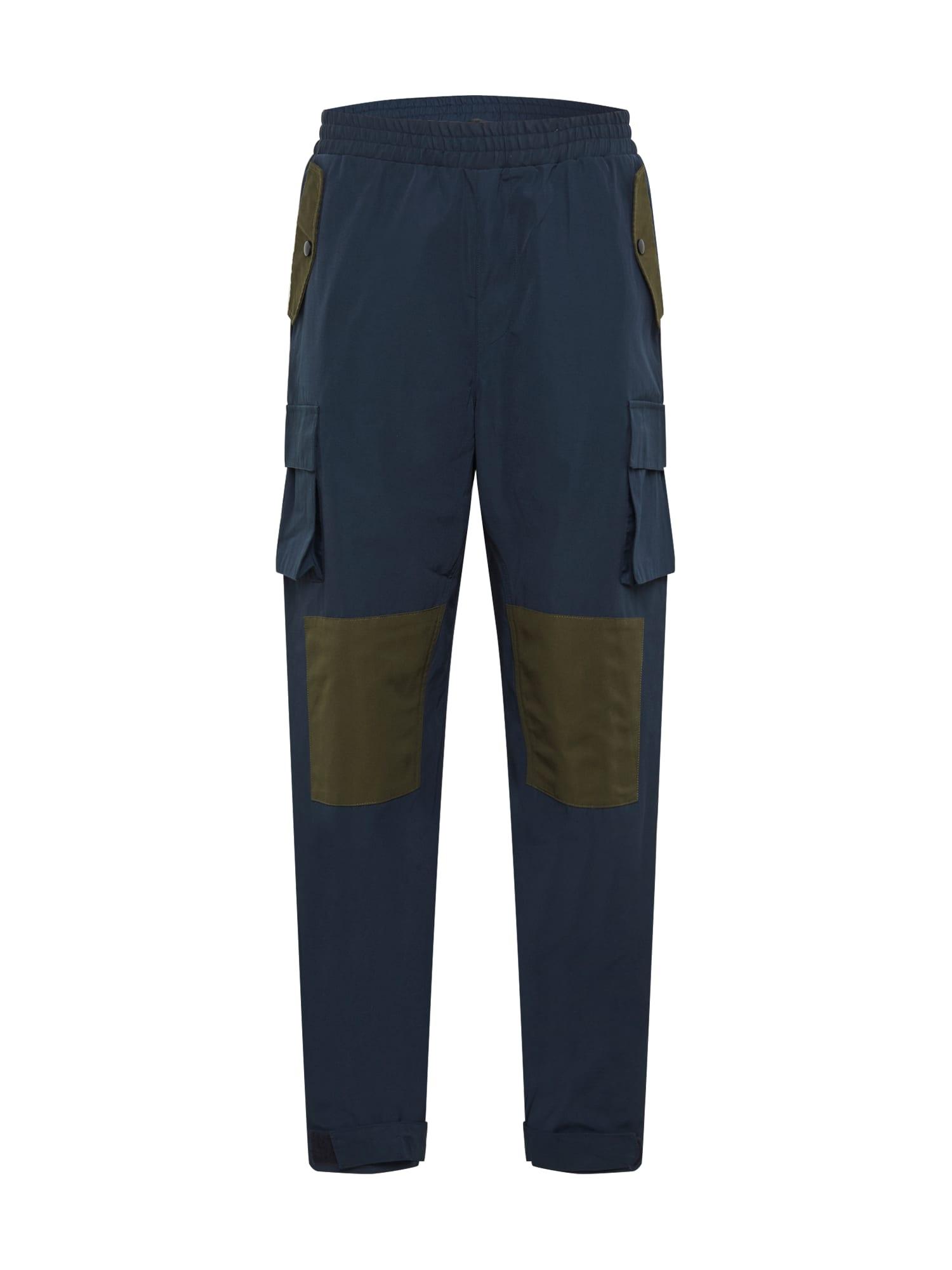 Mennace Laisvo stiliaus kelnės tamsiai mėlyna / alyvuogių spalva