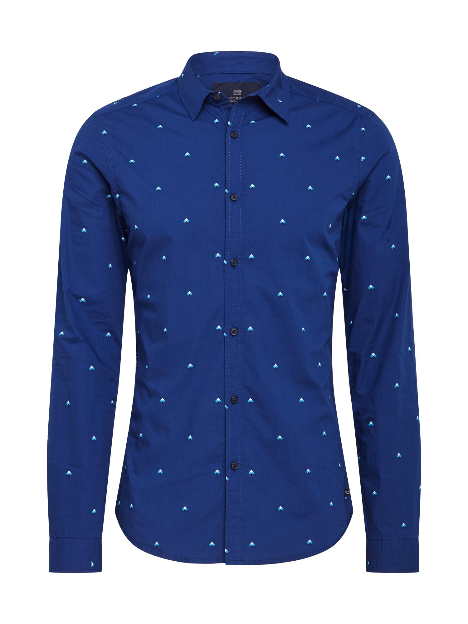 SCOTCH & SODA Dalykinio stiliaus marškiniai mėlyna / turkio spalva / balta / juoda