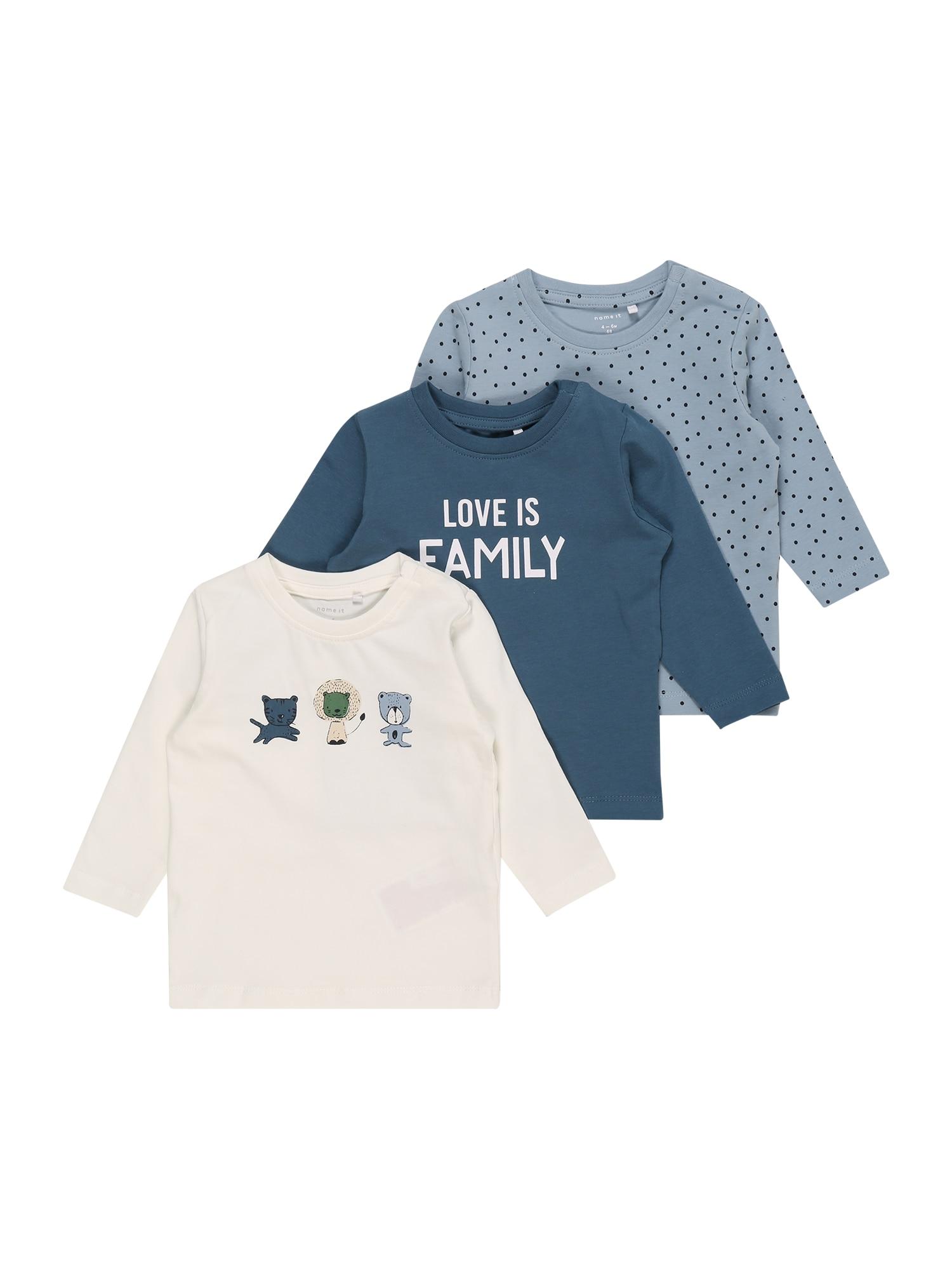 NAME IT Marškinėliai 'TEMEN' mėlyna dūmų spalva / opalo / vilnos balta / pastelinė geltona