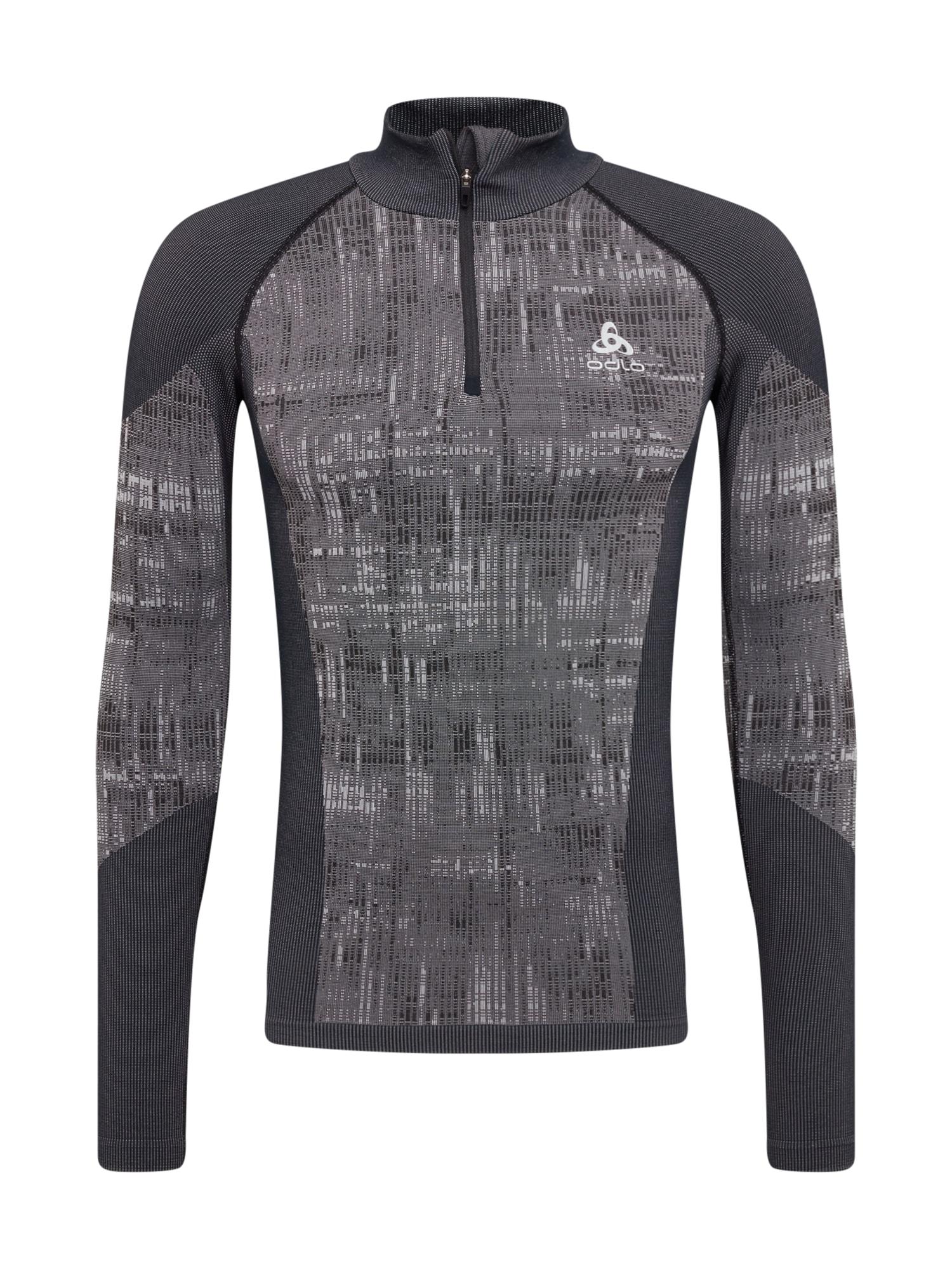 ODLO Sportinio tipo megztinis juoda / tamsiai pilka / šviesiai pilka