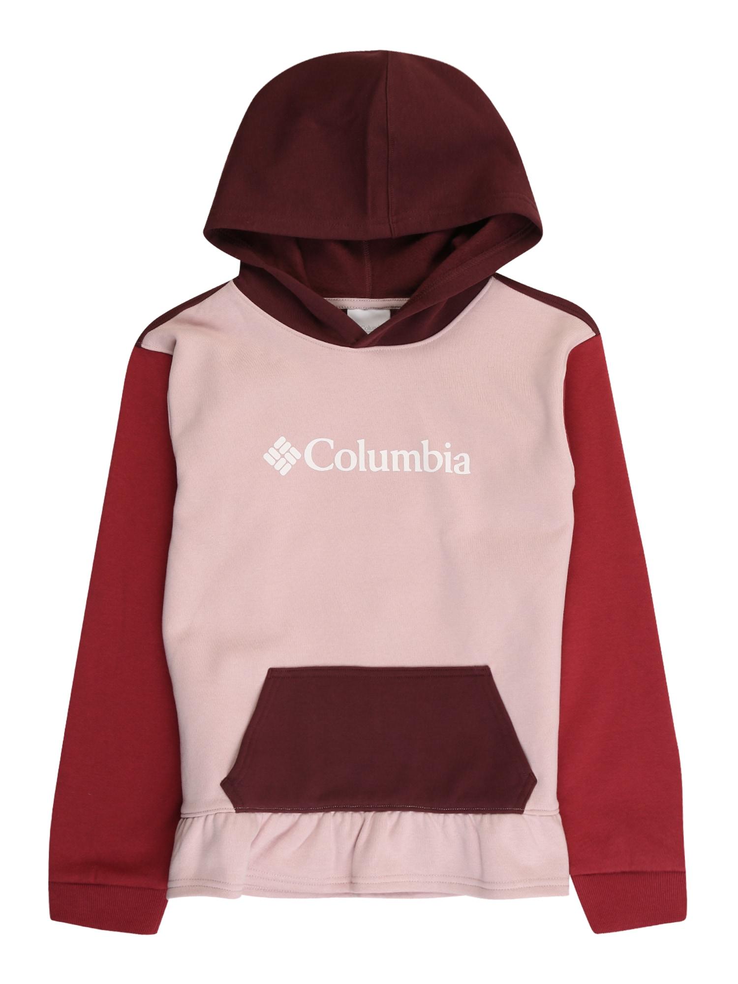 COLUMBIA Sportinio tipo megztinis raudona / pastelinė rožinė / kraujo spalva