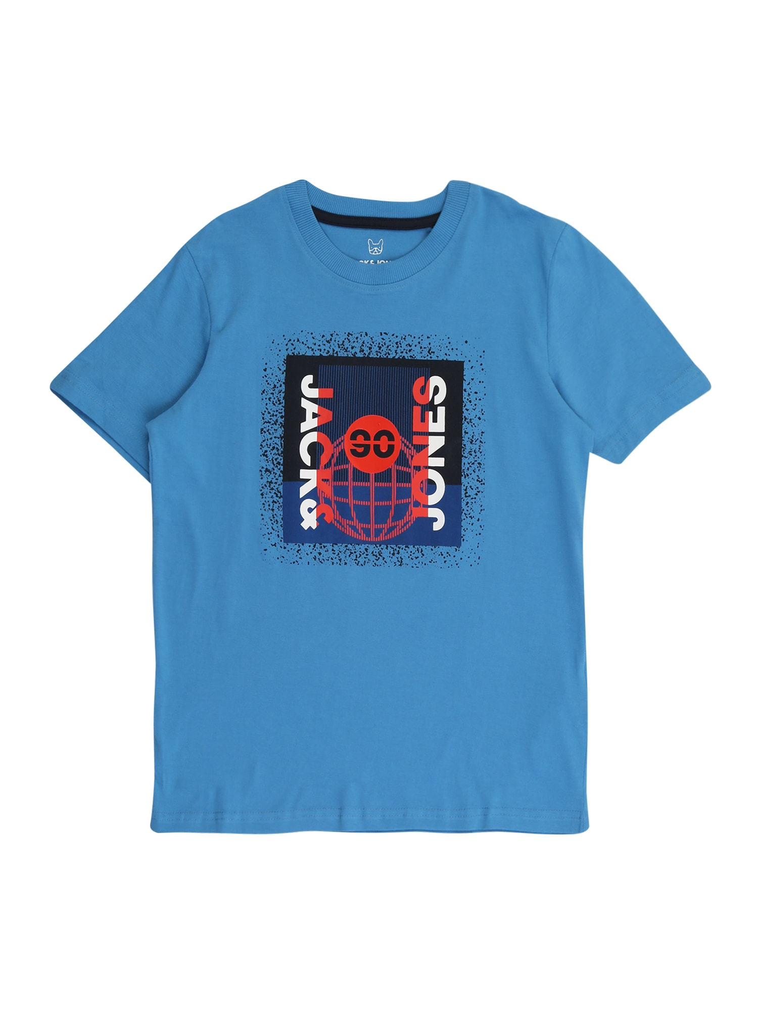 Jack & Jones Junior Tričko 'SPLATTER'  modrá / černá / bílá / červená / tmavě modrá