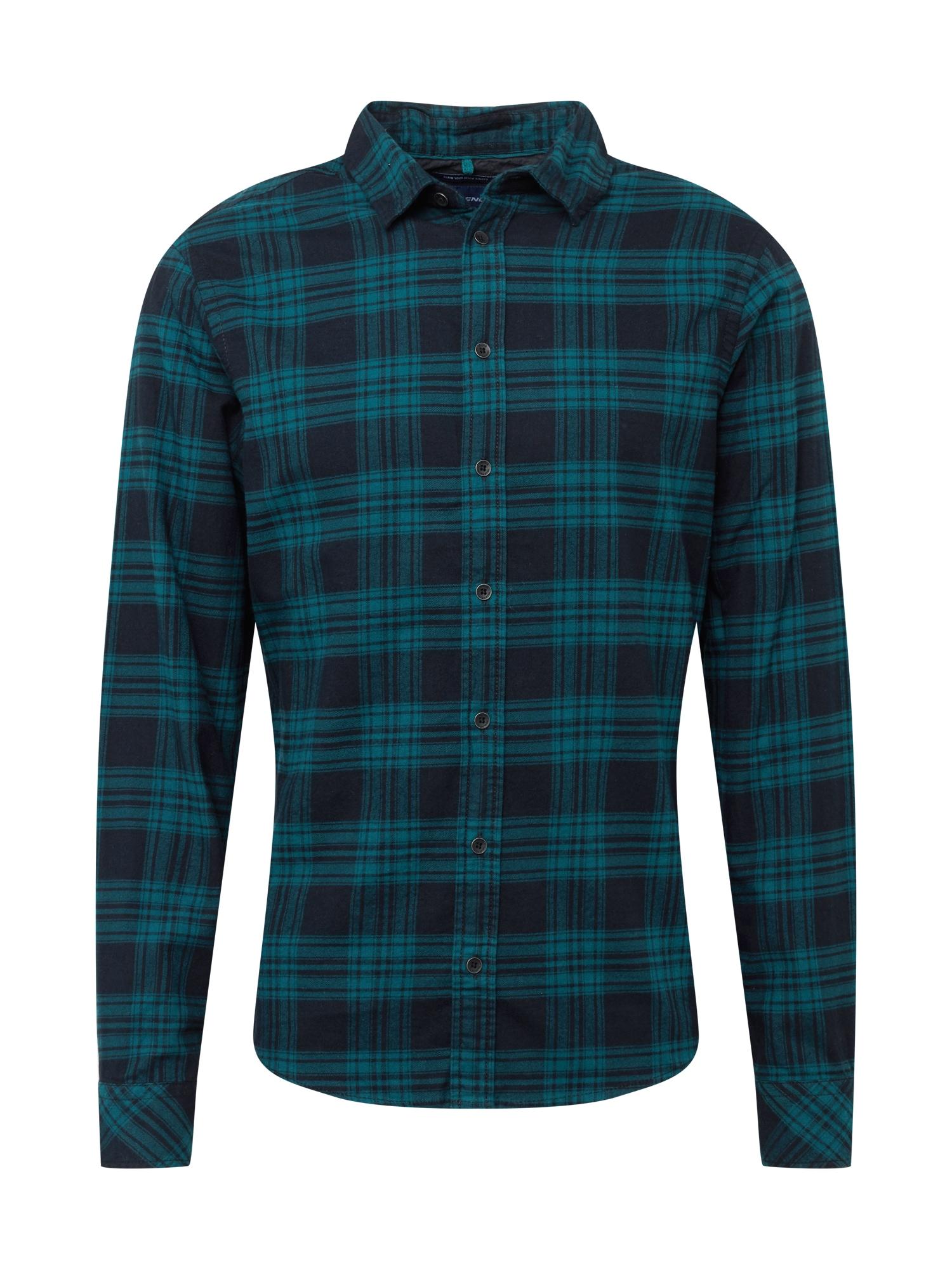 BLEND Marškiniai smaragdinė spalva / tamsiai mėlyna