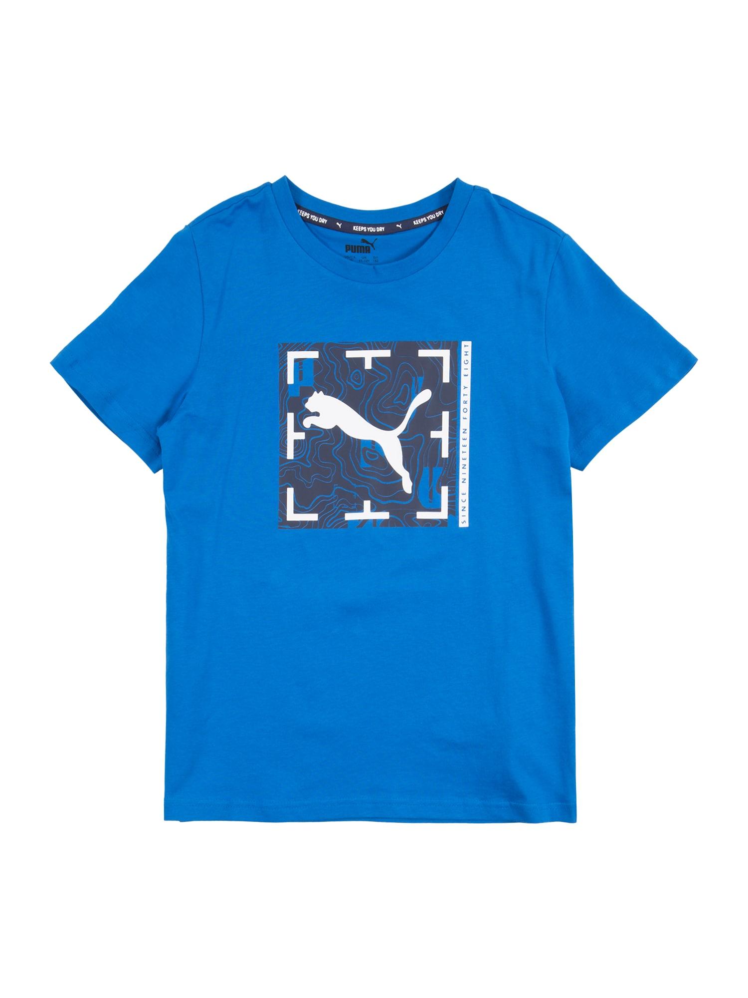 PUMA Sportiniai marškinėliai mėlyna / tamsiai pilka / balta