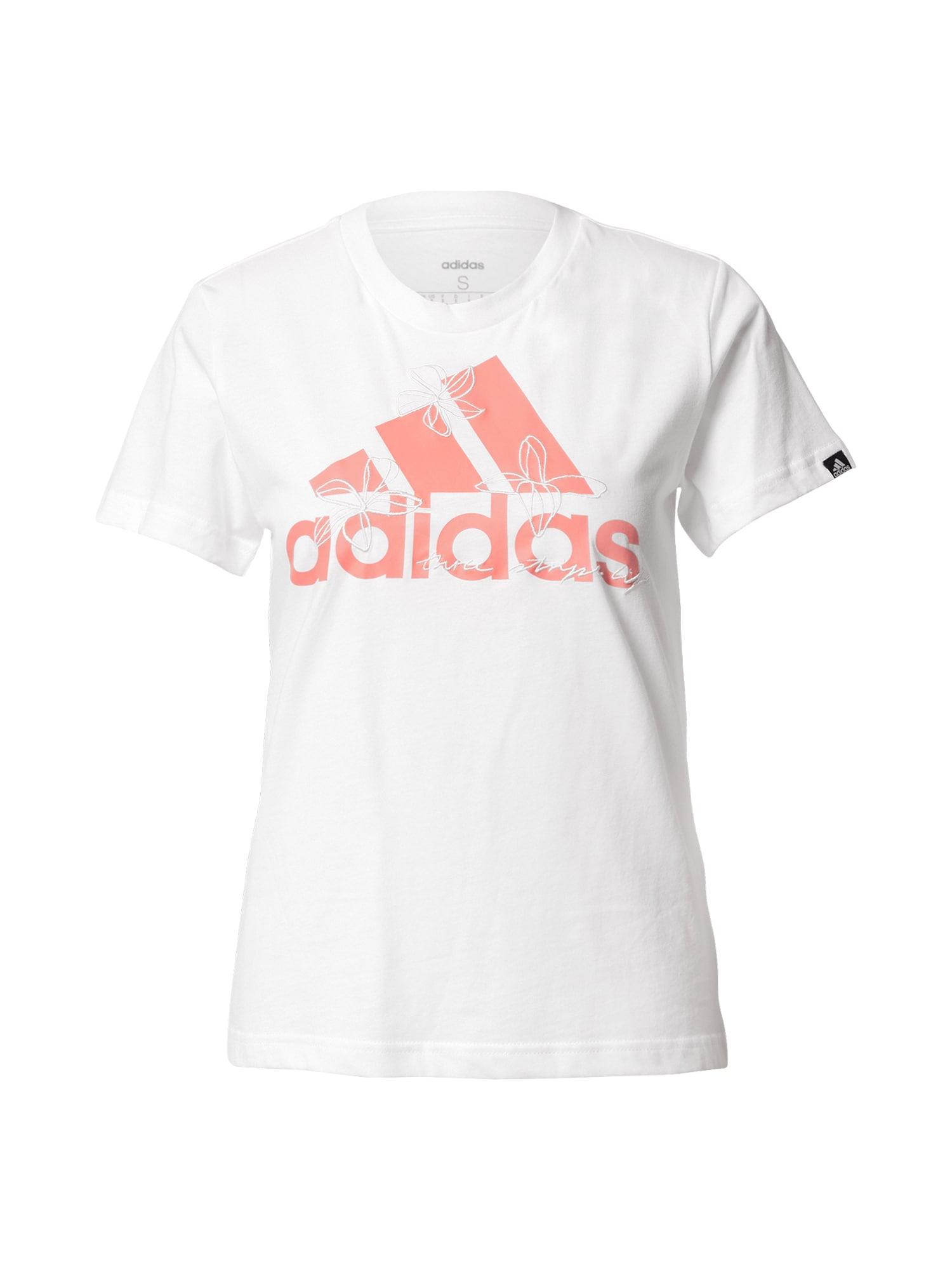 ADIDAS PERFORMANCE Sportiniai marškinėliai lašišų spalva / balta