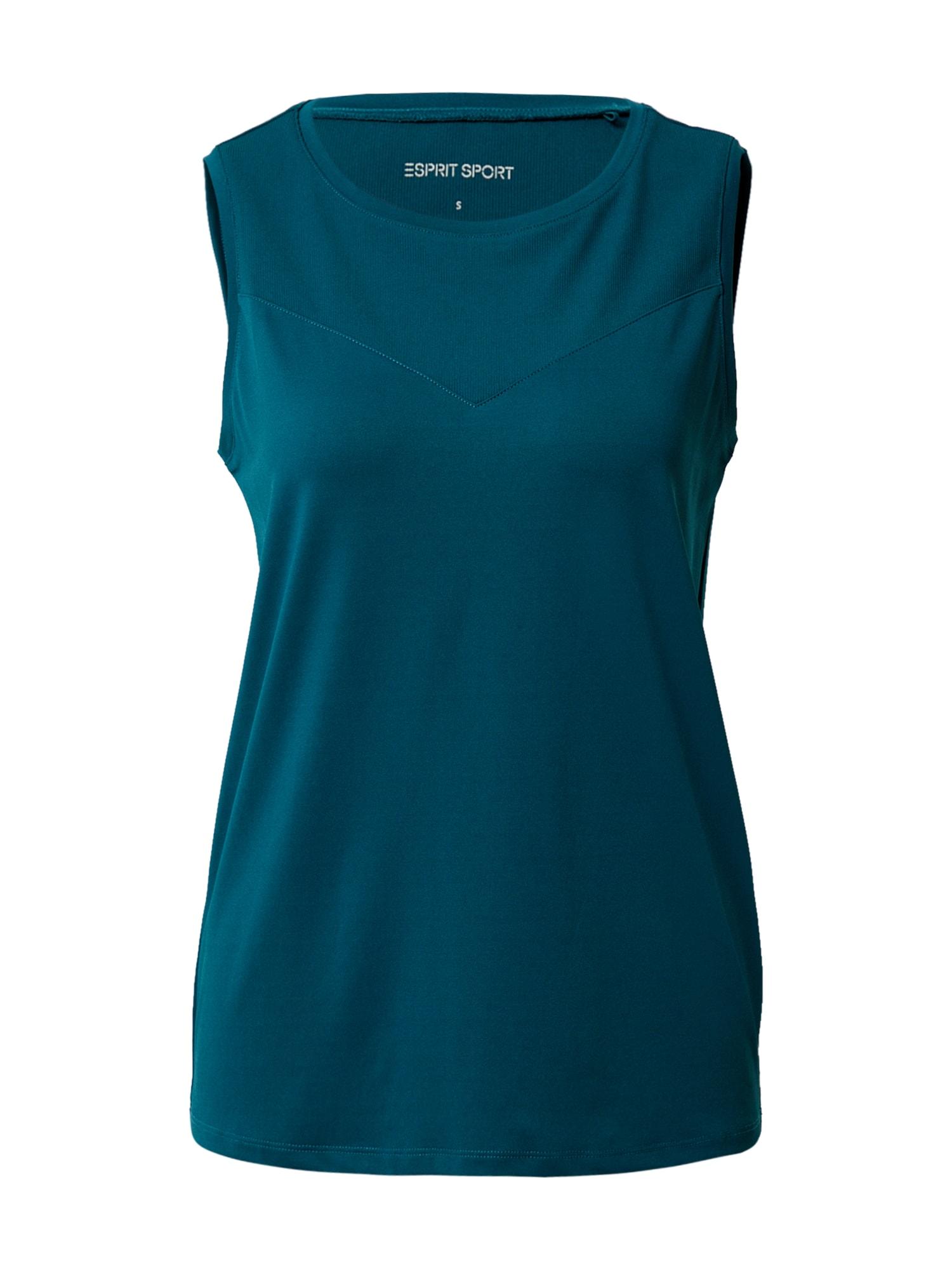 ESPRIT SPORT Sportiniai marškinėliai be rankovių tamsiai žalia