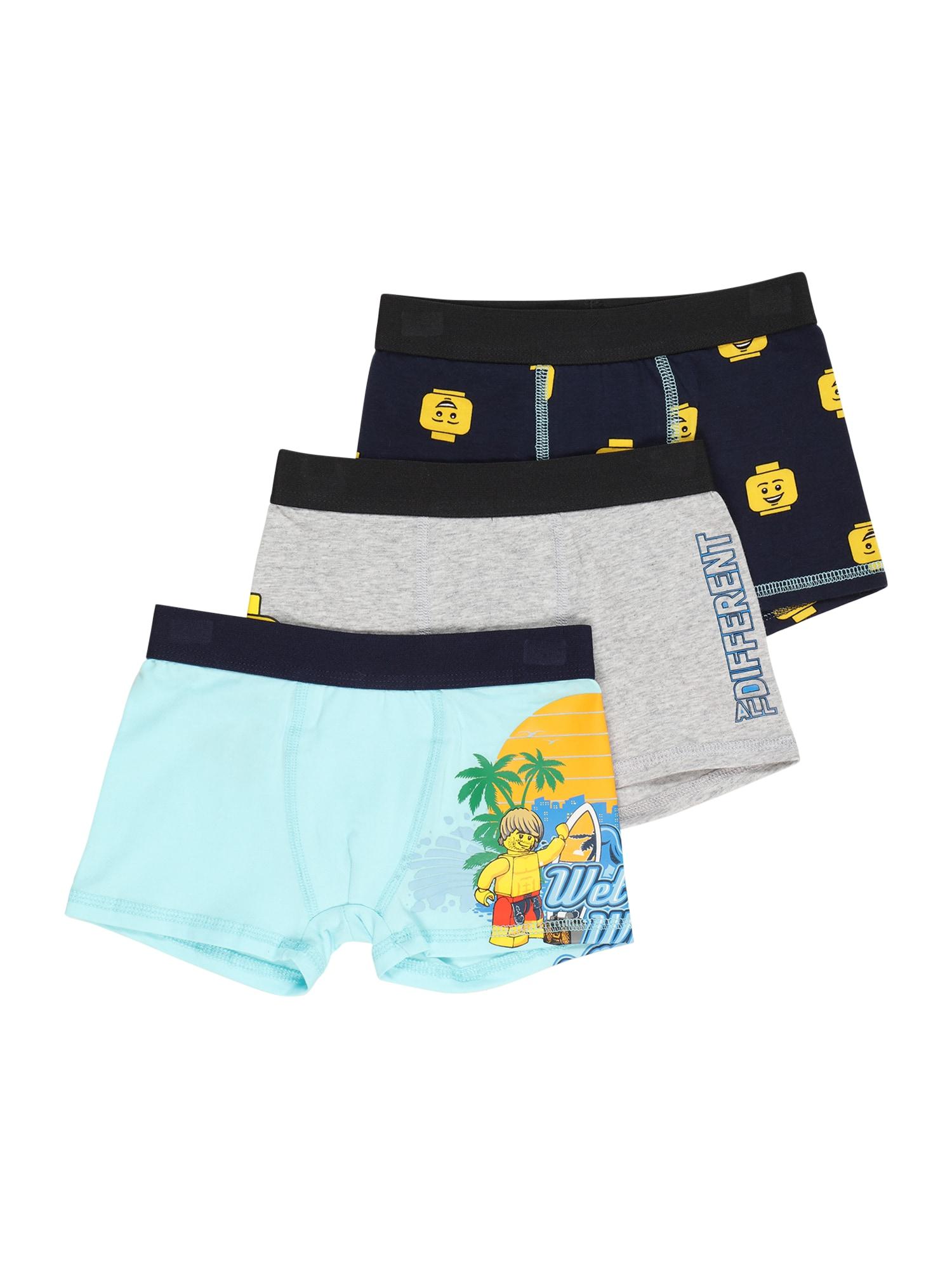 LEGO WEAR Apatinės kelnaitės turkio spalva / tamsiai mėlyna / margai pilka / geltona