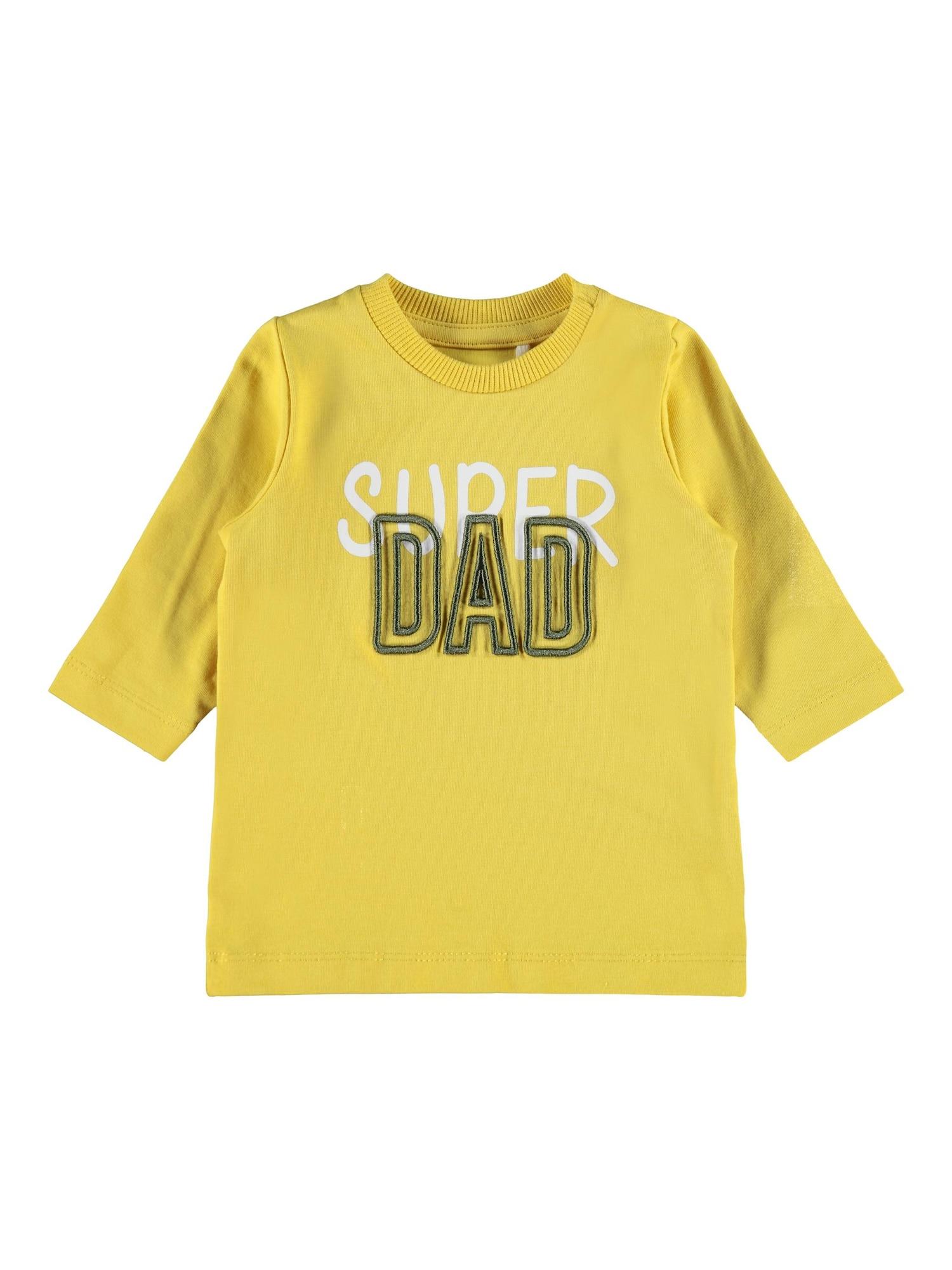 NAME IT Marškinėliai 'Dironne' geltona / balta / dūmų pilka