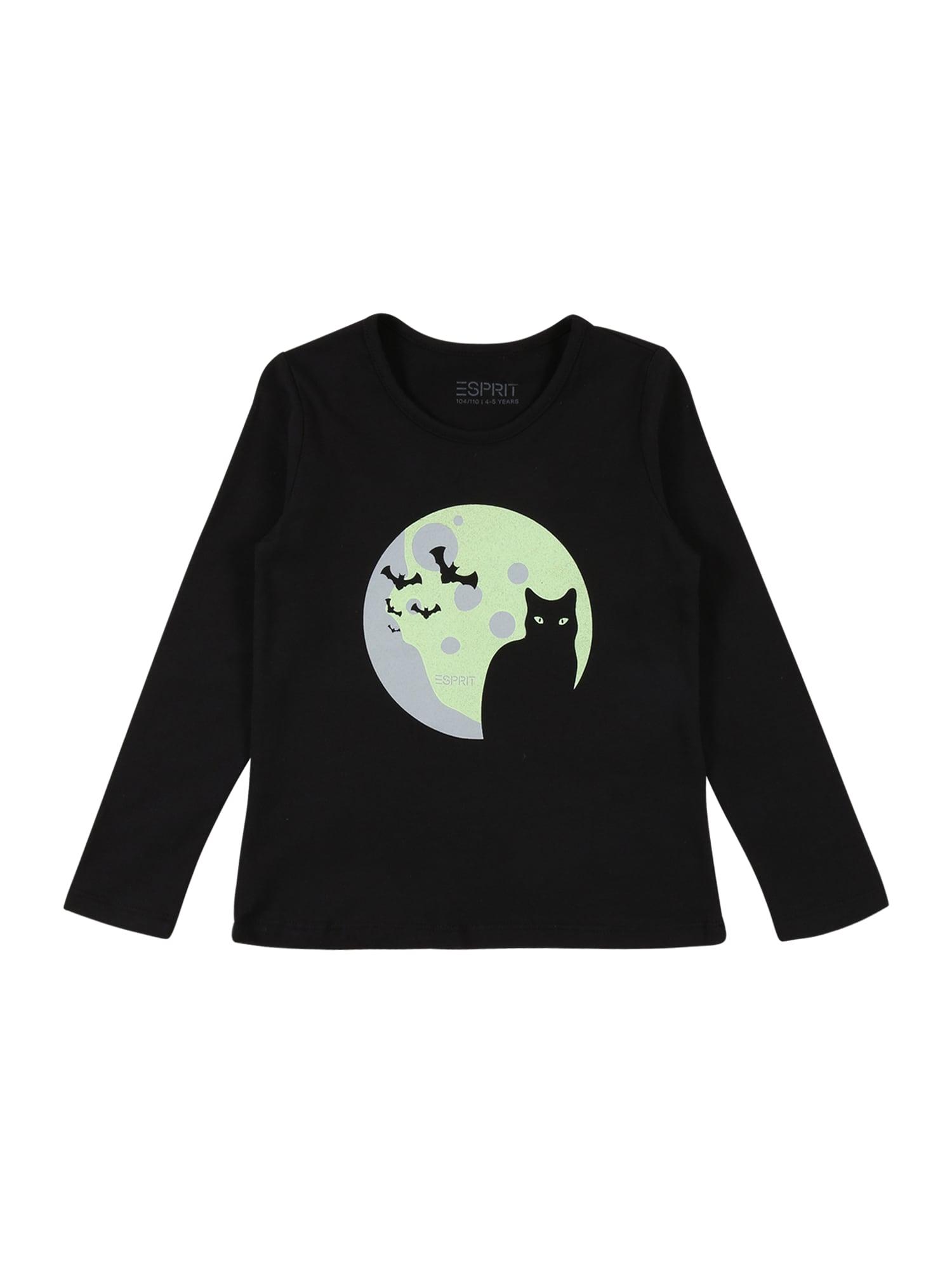 ESPRIT Marškinėliai juoda / pilka / pastelinė žalia