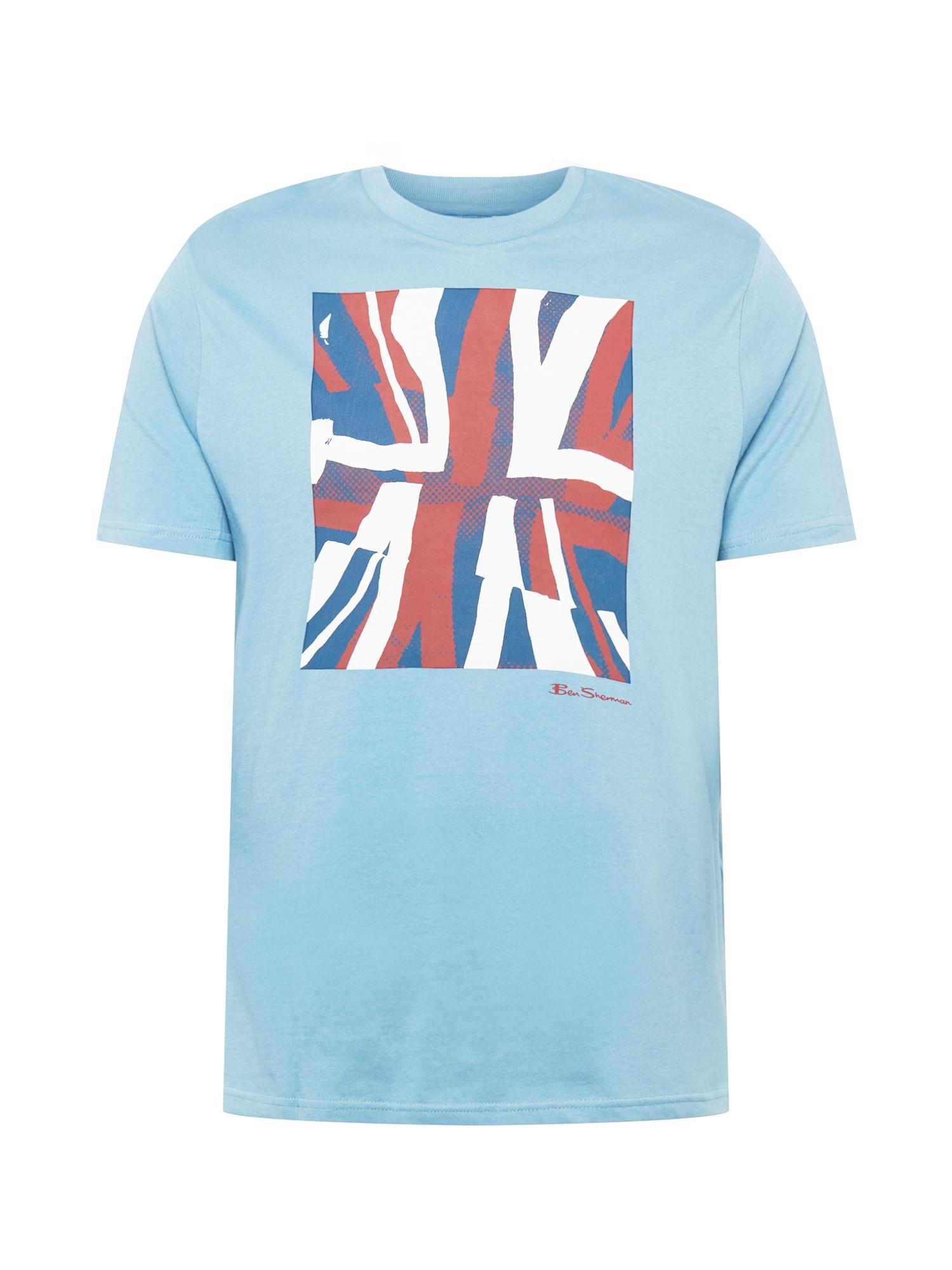 Ben Sherman Marškinėliai šviesiai mėlyna / balta / raudona