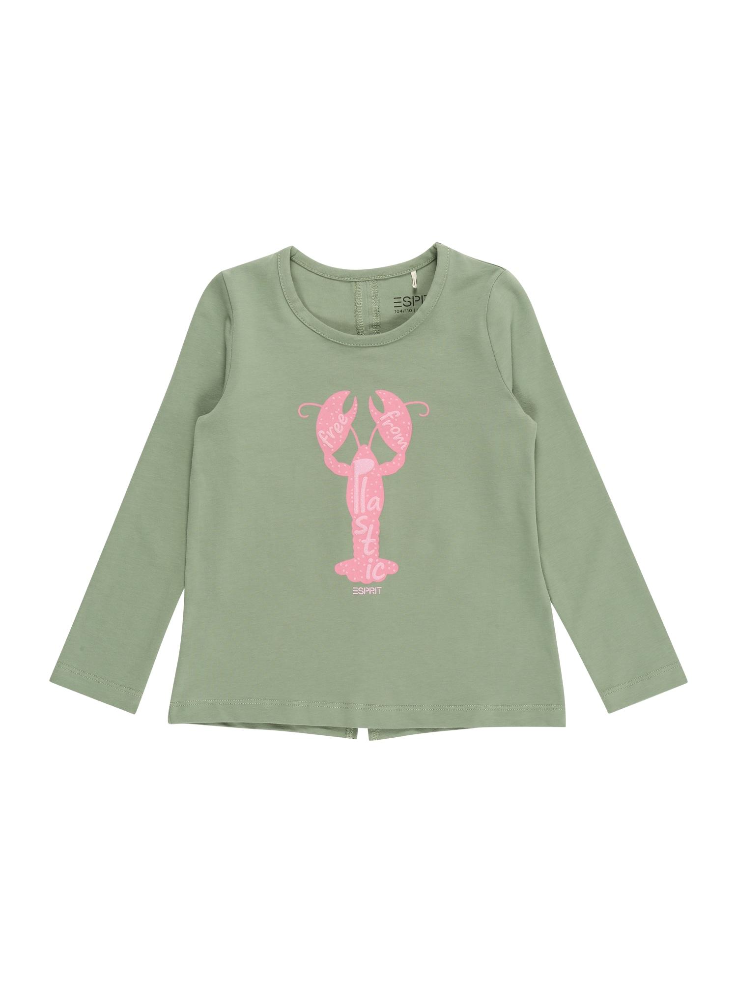 ESPRIT KIDS Marškinėliai rusvai žalia / rožinė