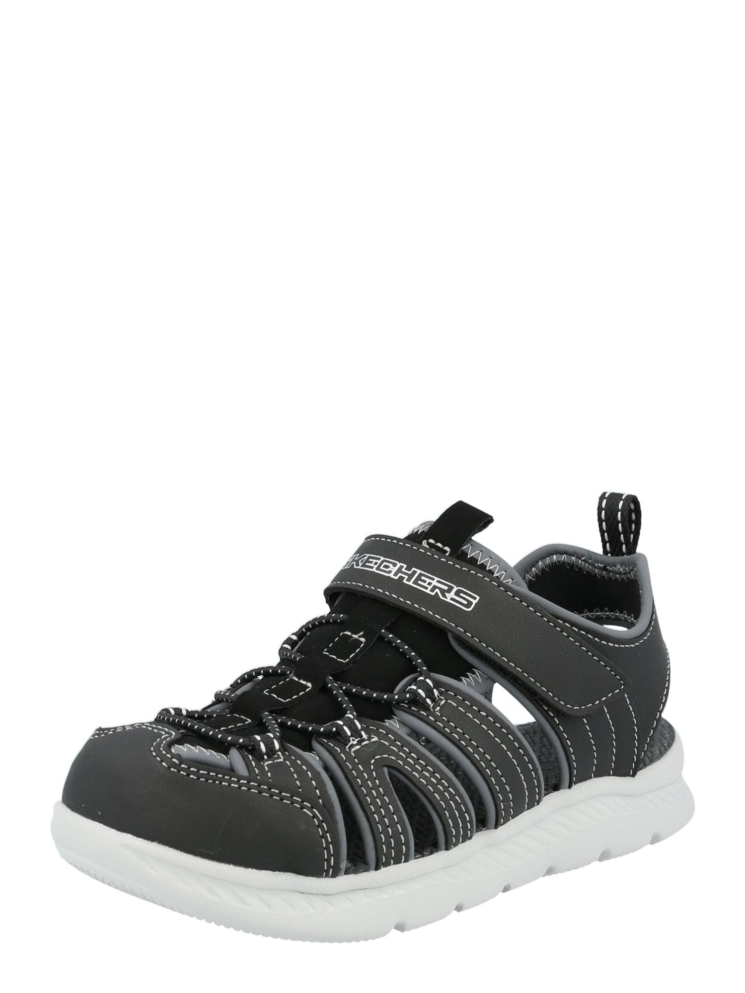SKECHERS Atviri batai juoda / pilka