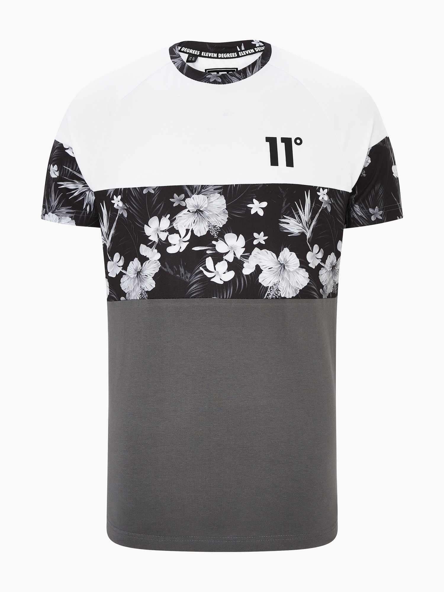 11 Degrees Marškinėliai 'TRIPLE PANEL FLORAL' pilka / balta / juoda