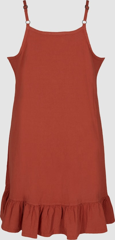 Kleid von Zizzi.  Schönes ärmelloses Kleid aus 100% Baumwolle und einfarbigem Design. Das Kleid hat dünne, verstellbare Träger, einen Rundhalsausschnitt sowie eine lockere A-Linie mit femininen Rüschen am Saum.