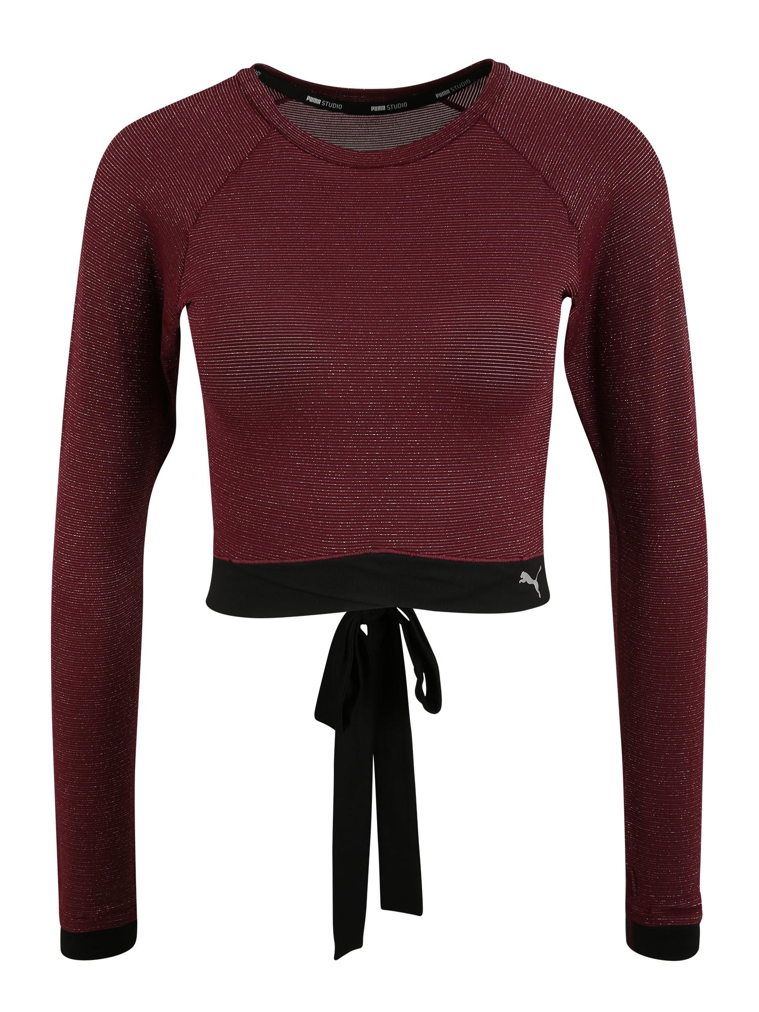 PUMA Funkční tričko 'Studio'  burgundská červeň / černá