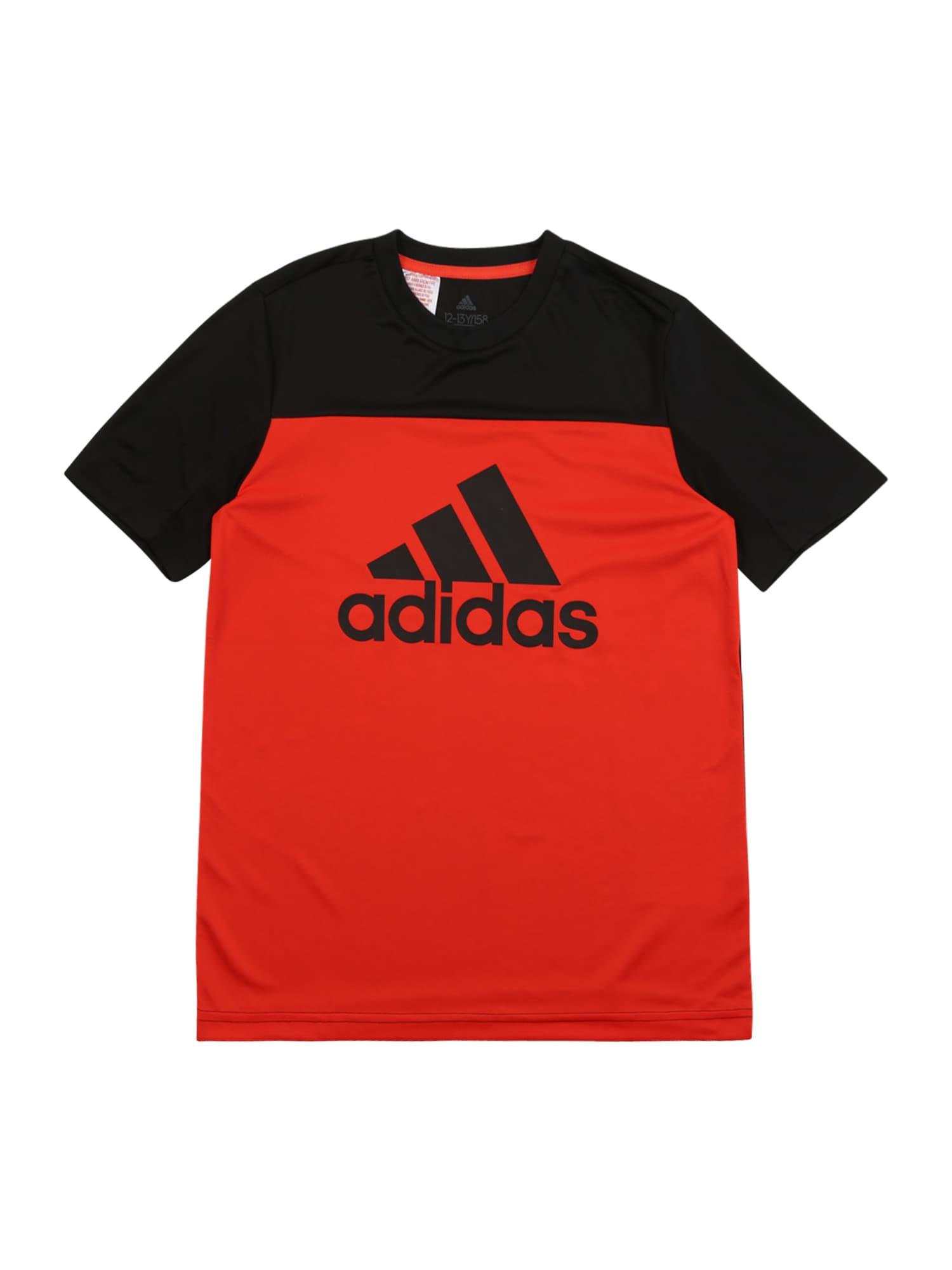 ADIDAS PERFORMANCE Sportiniai marškinėliai raudona / juoda