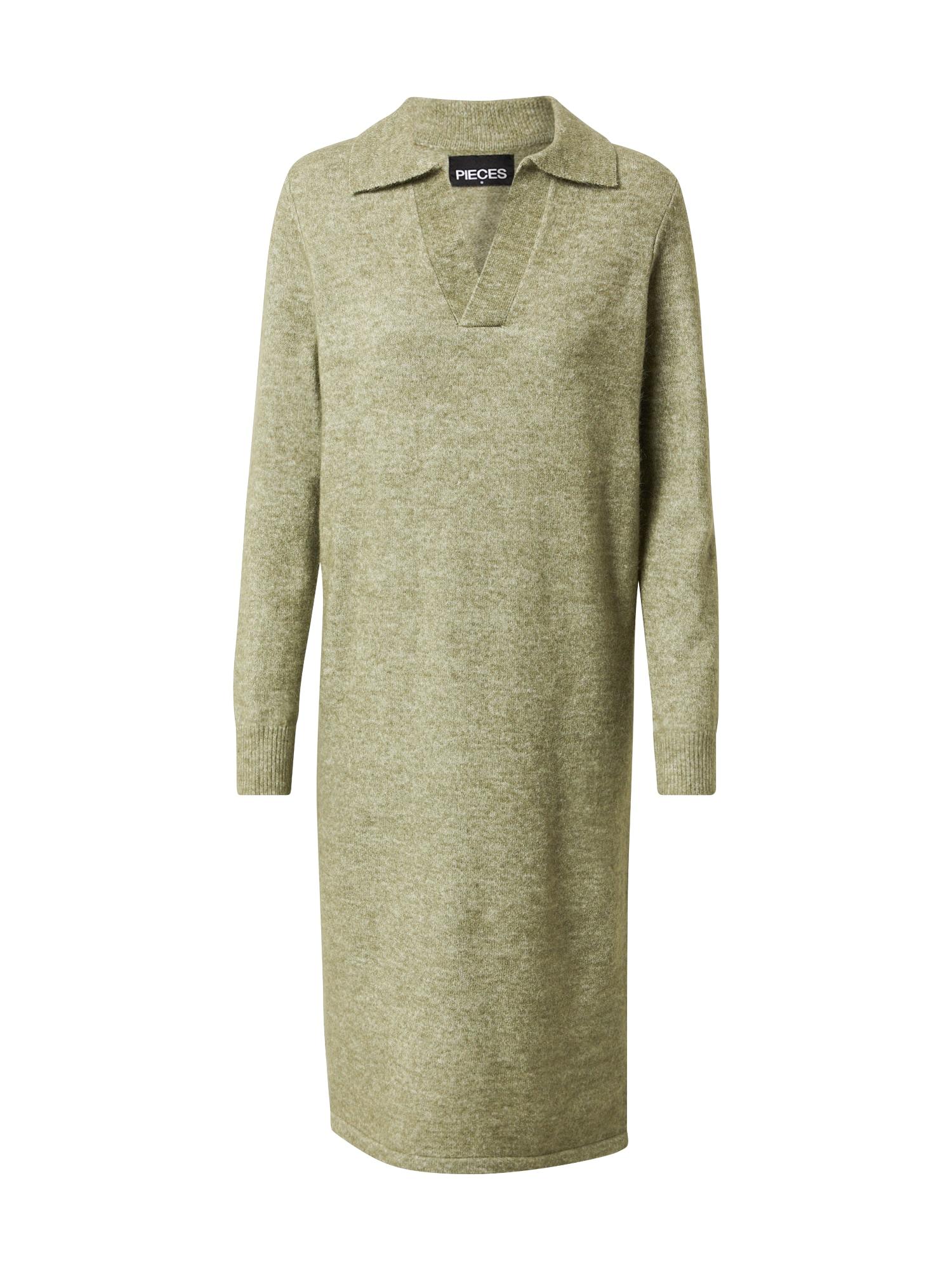 PIECES Úpletové šaty 'FLAVIA'  khaki