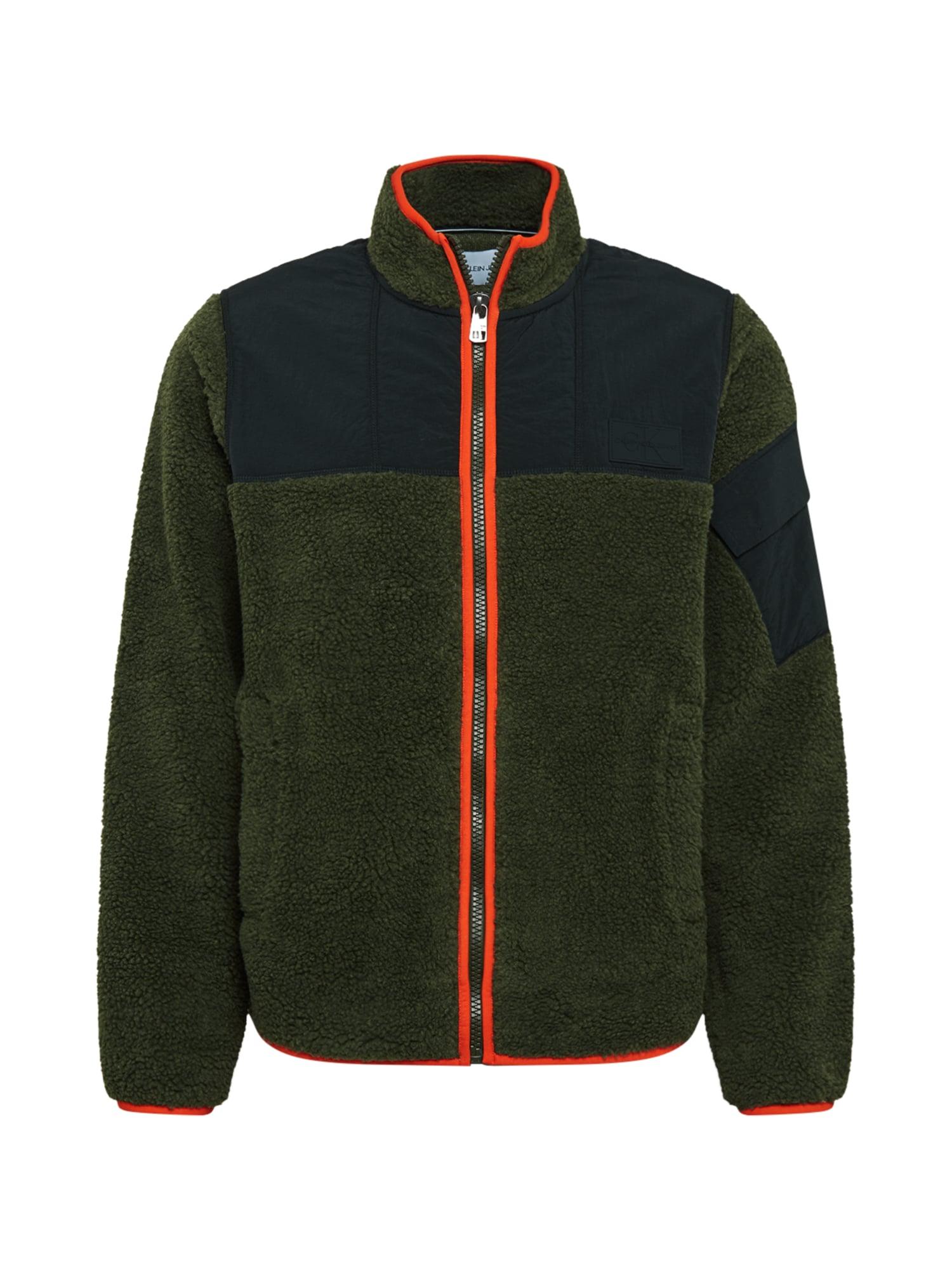 Calvin Klein Jeans Demisezoninė striukė rusvai žalia / tamsiai mėlyna / oranžinė